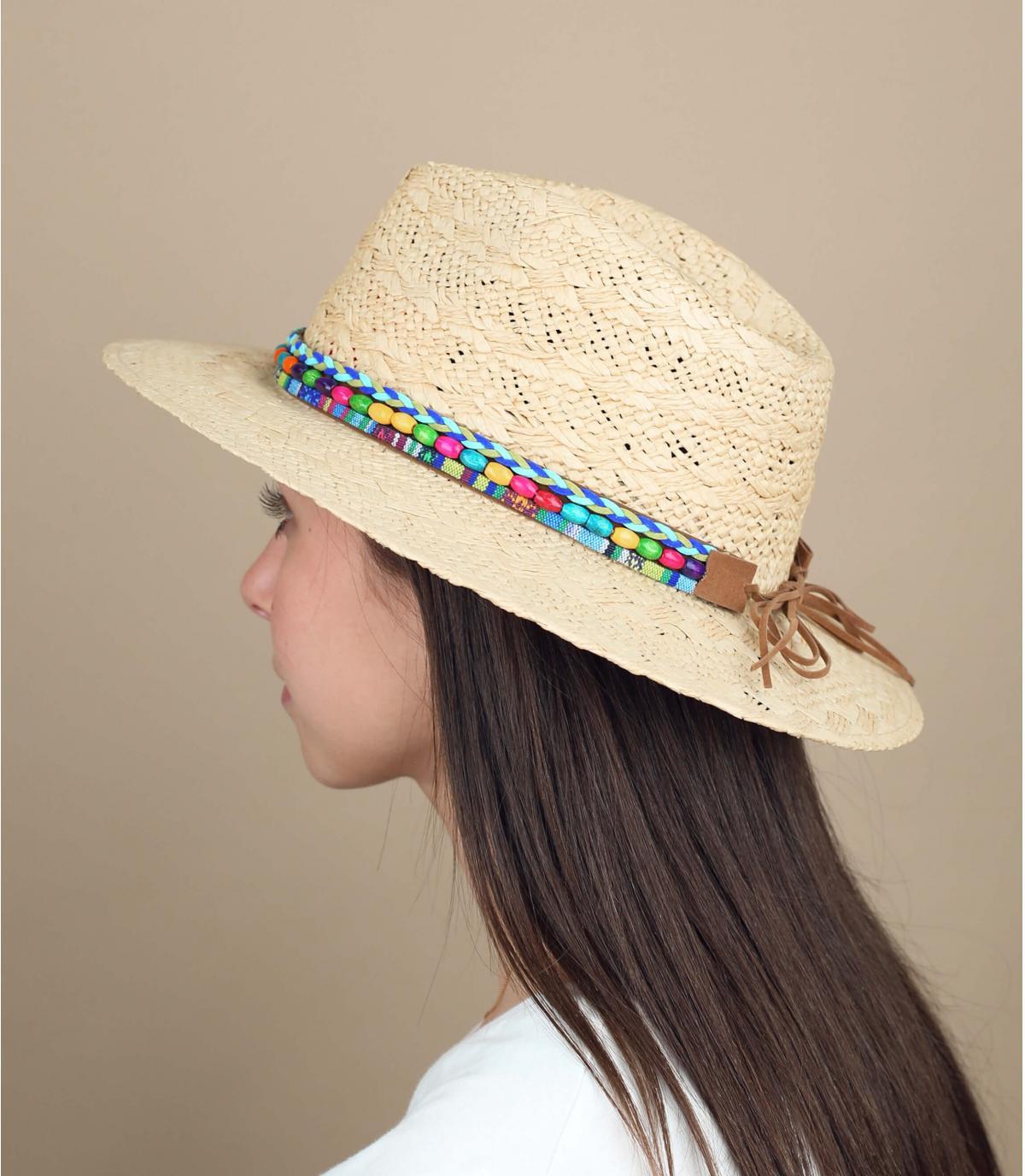 strooien hoed kleur kralen