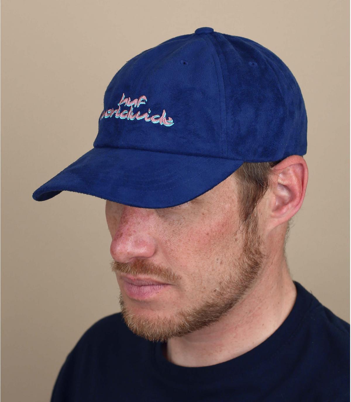 Huf blauwe suède cap