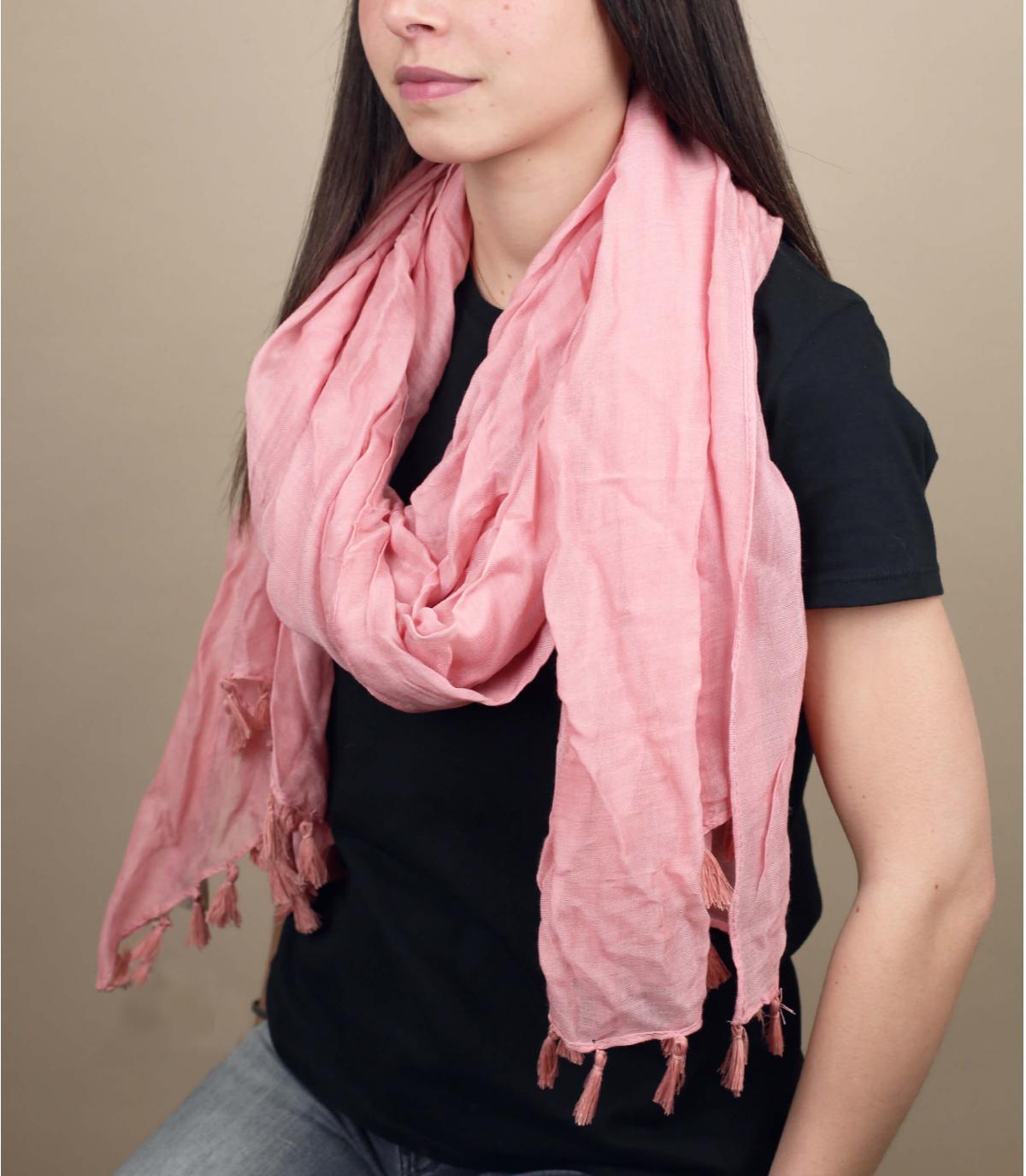 roze viscose sjaal