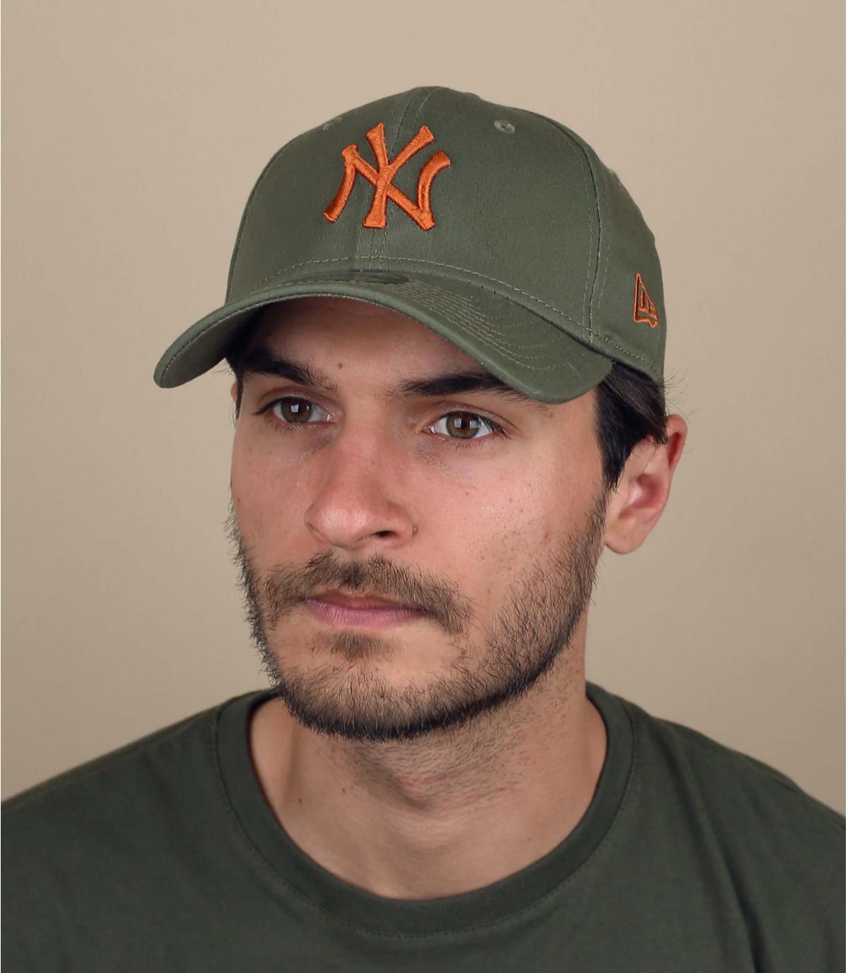 stretch cap NY groen oranje
