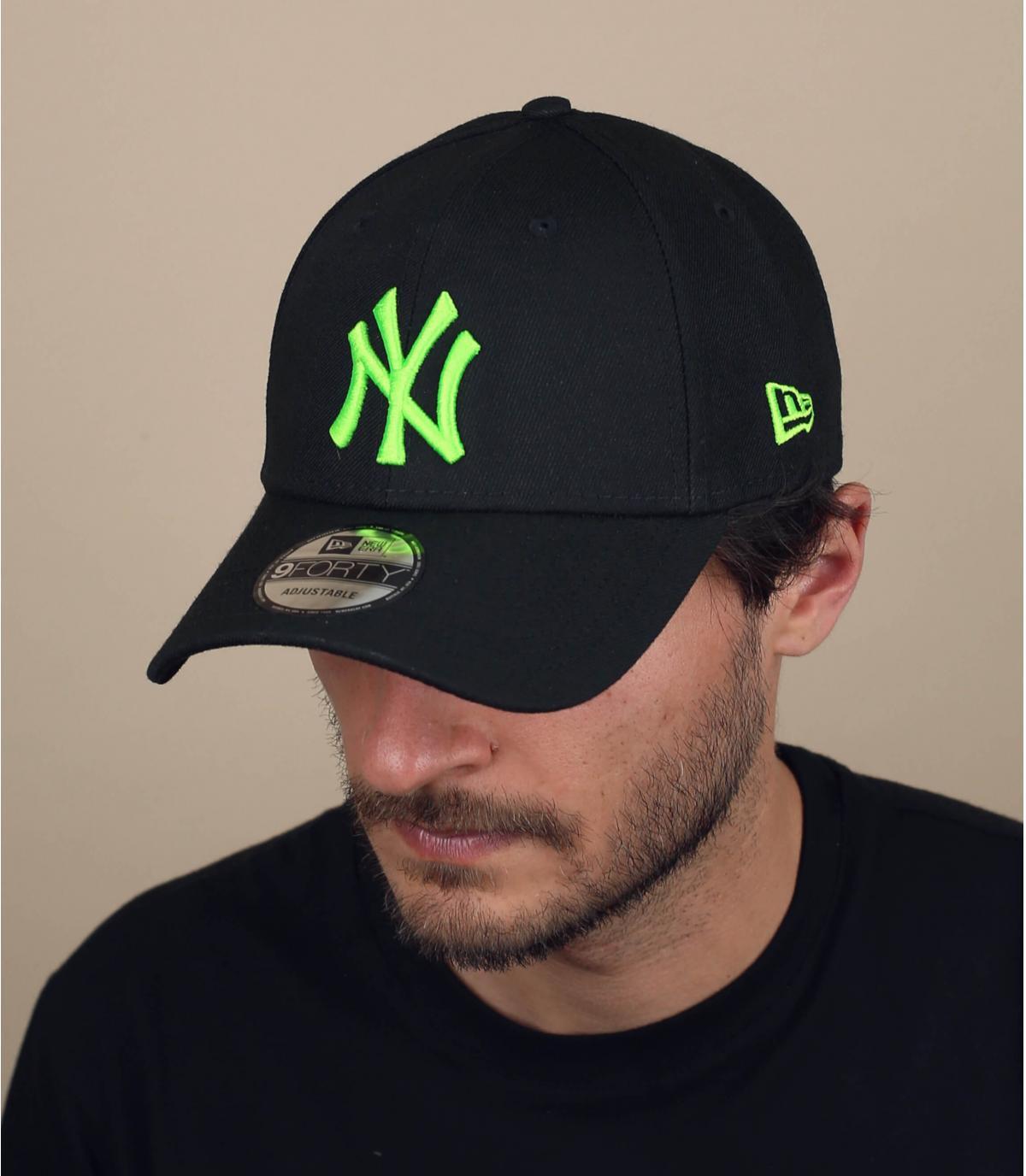 zwarte fluo-groene NY cap