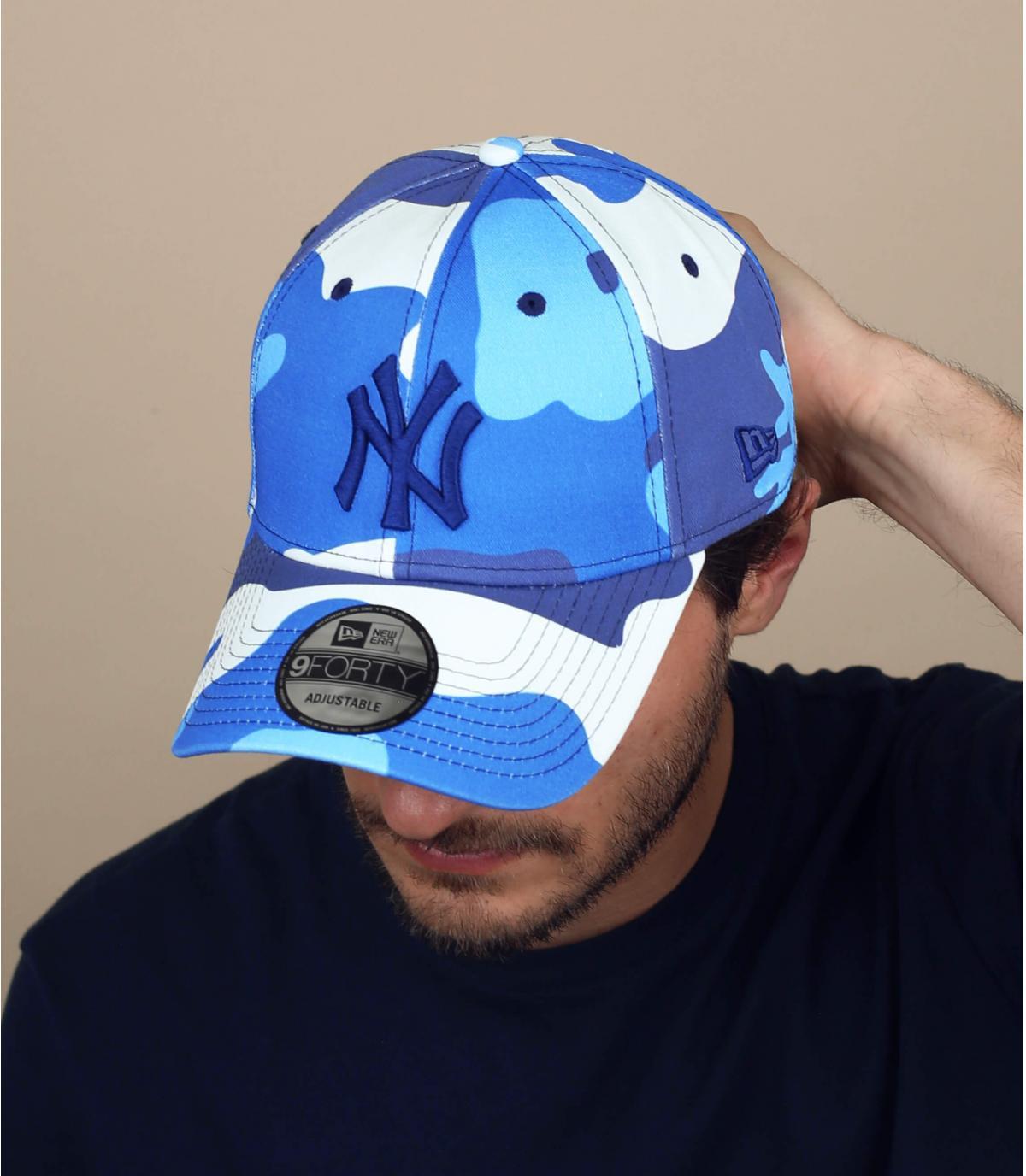 blauwe camo NY cap