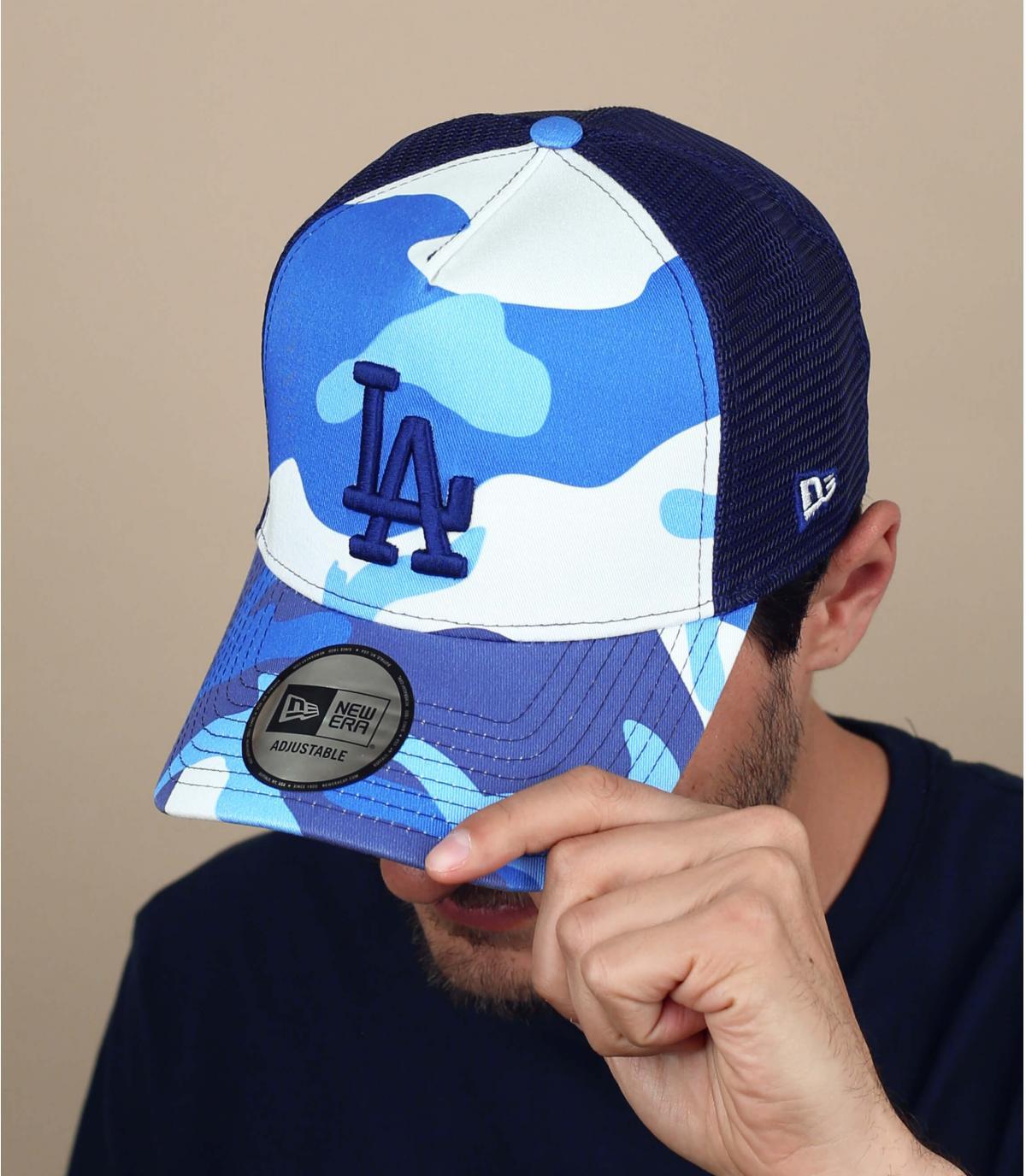 blauw witte camo trucker