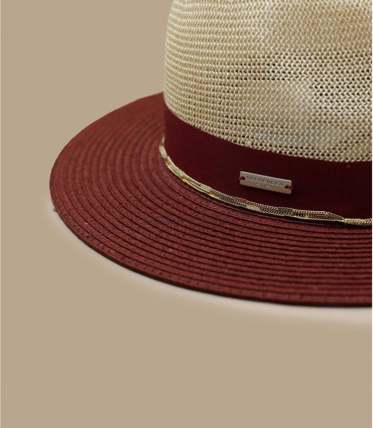 Details Fedora Bi Color  linen cassis - afbeeling 3