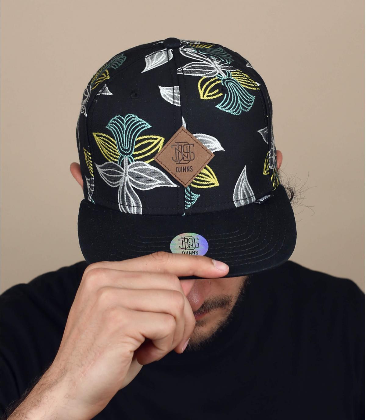 zwarte cap bloemen Djinns