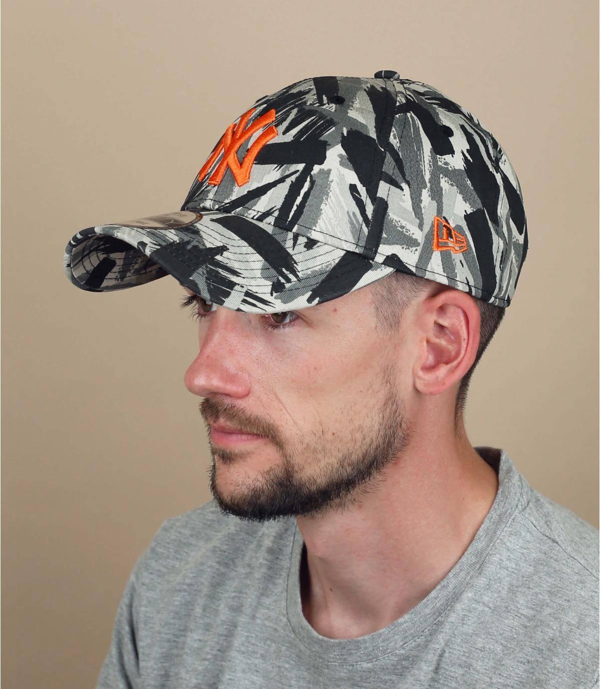 NY cap met grijze print