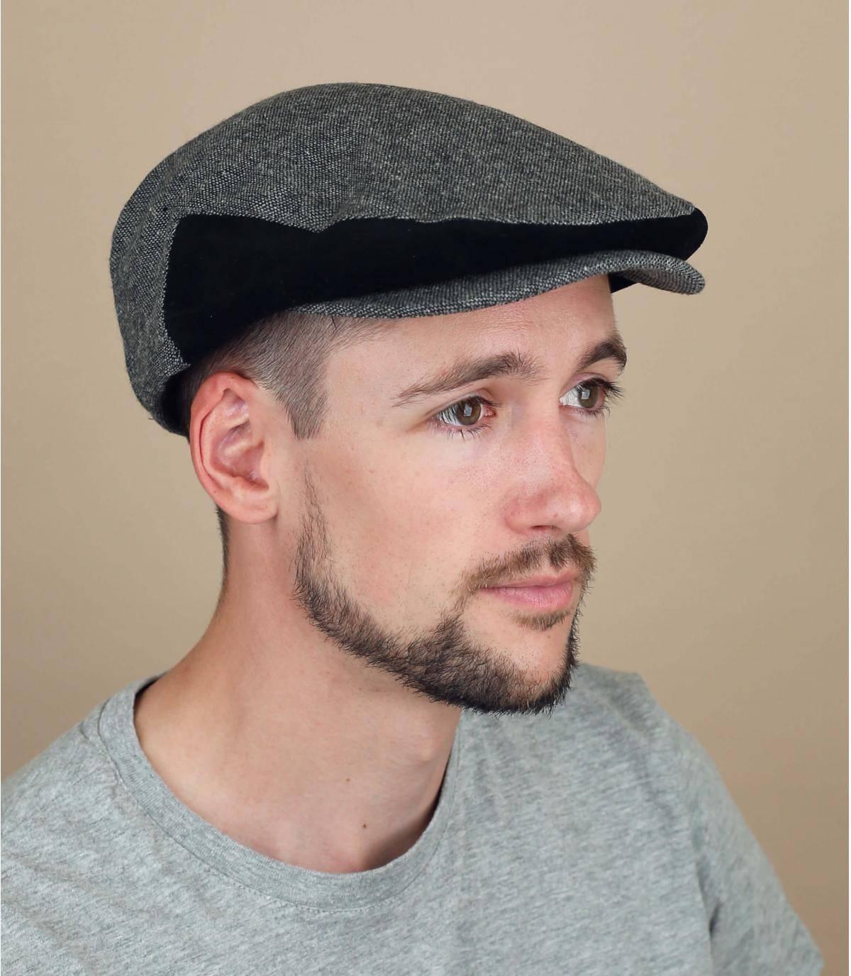 zwart grijze Brixton baret
