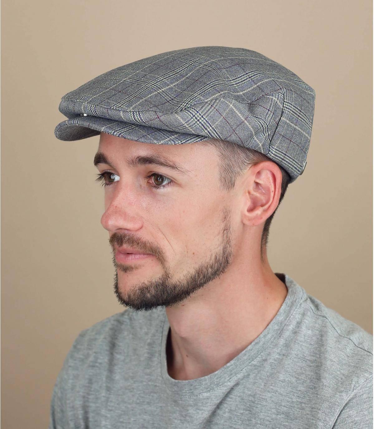 blauw geruite baret