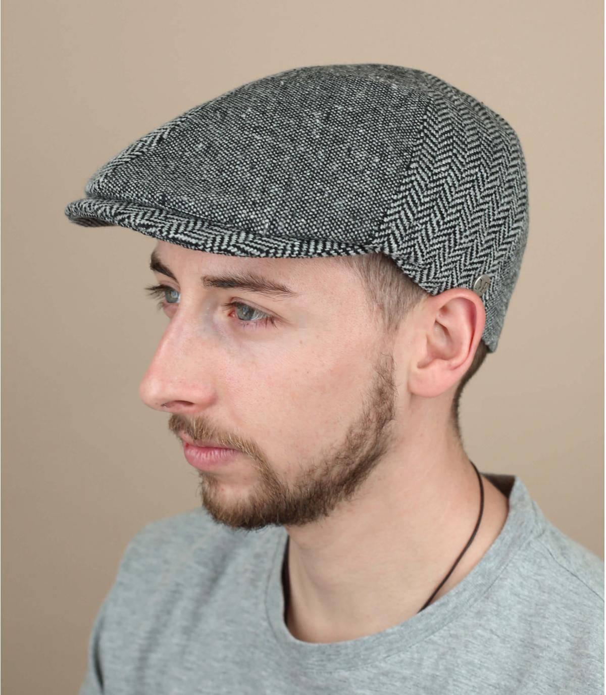 baret van grijze wol zijde