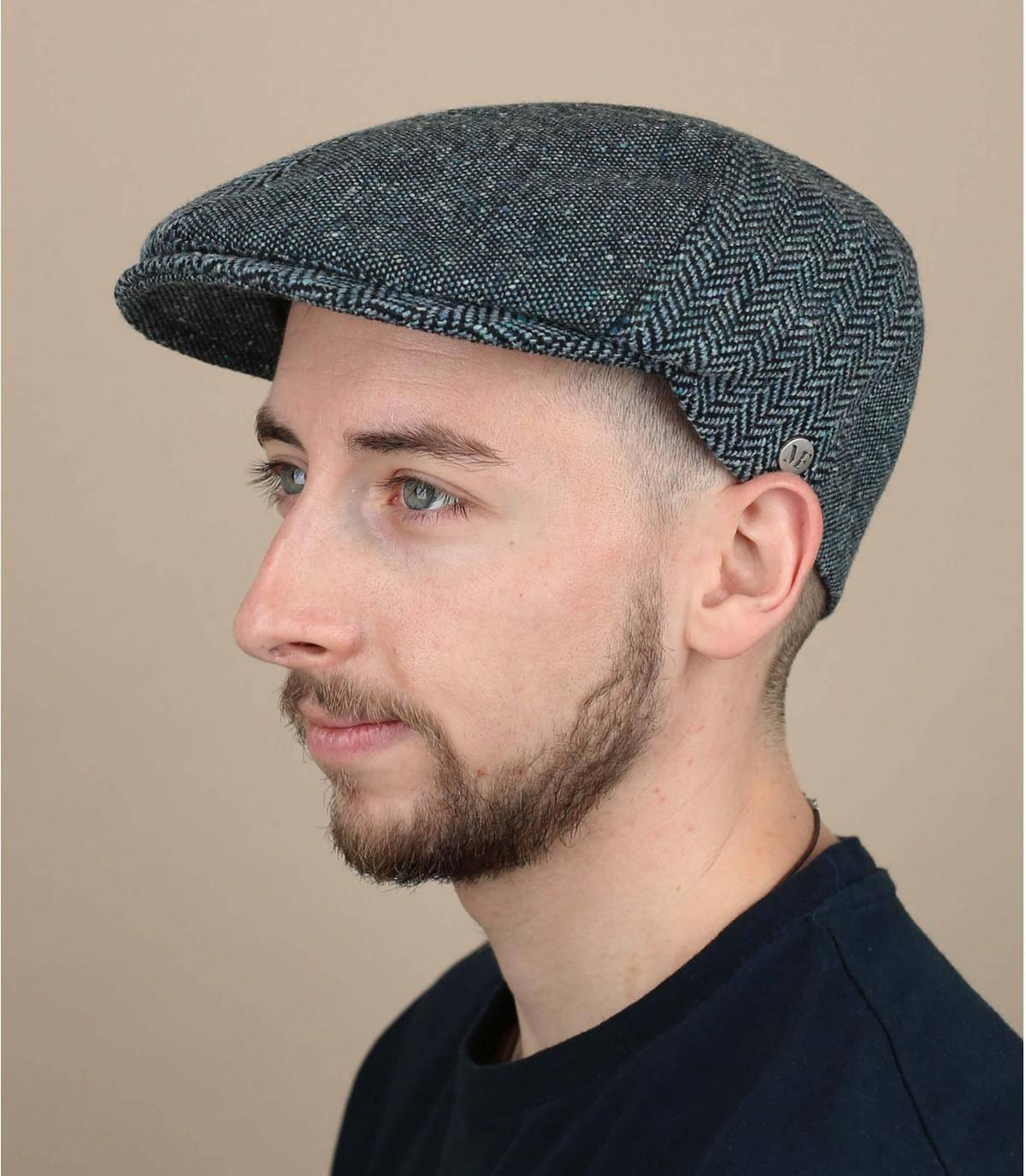 blauwe wollen zijden baret