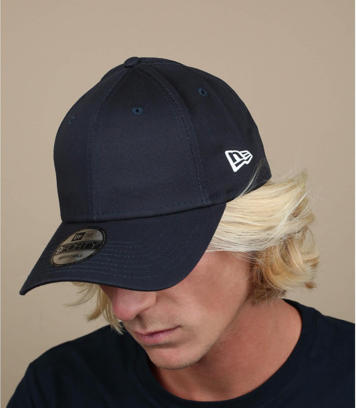 Blauw curved visor cap