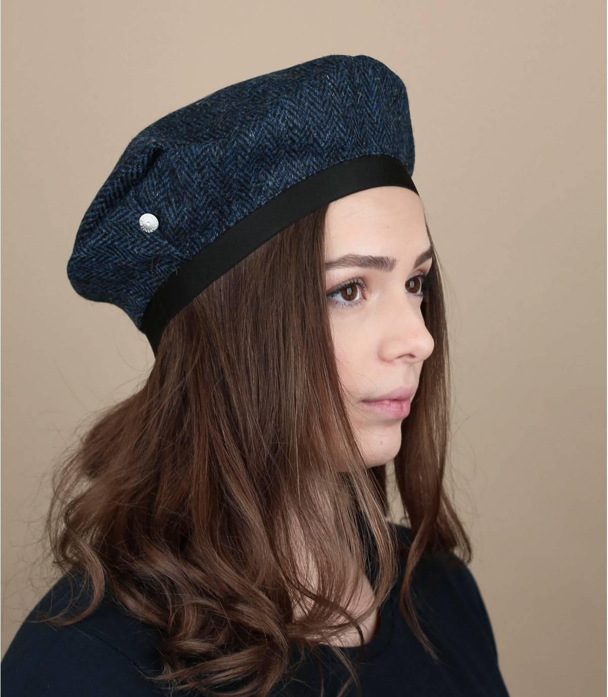 blauwe tweed baret