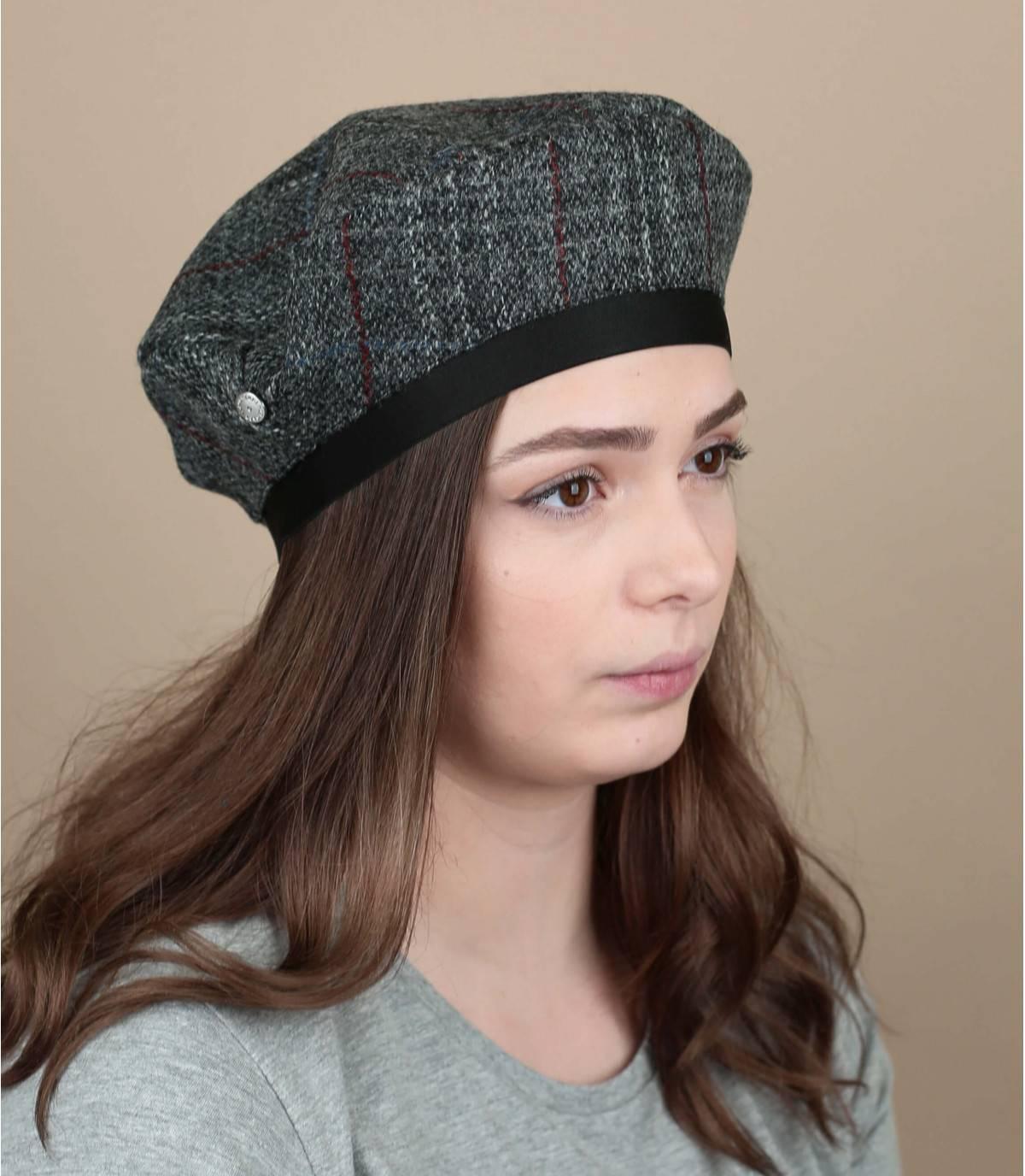 grijze tweed baret