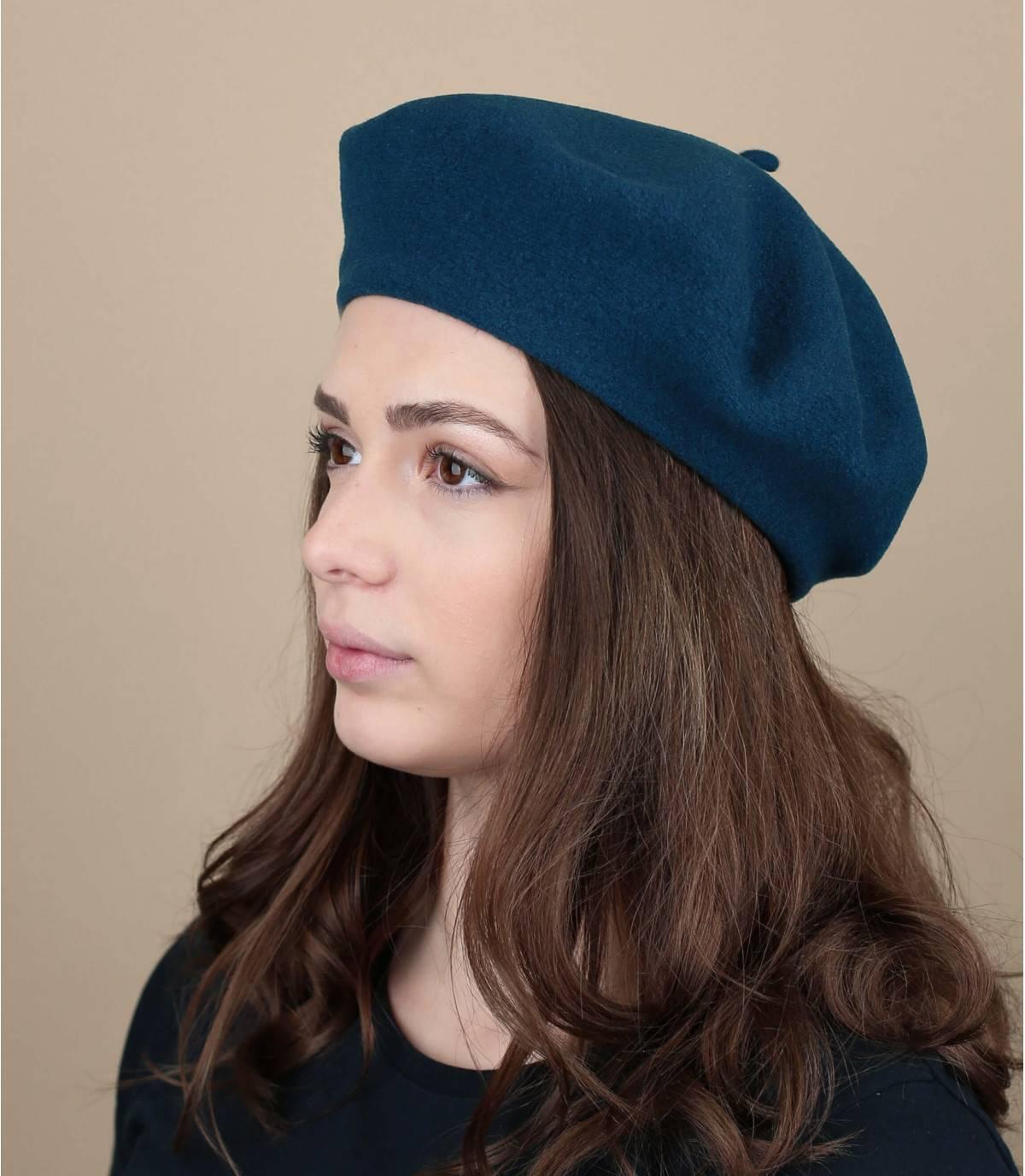 blauw wollen baret
