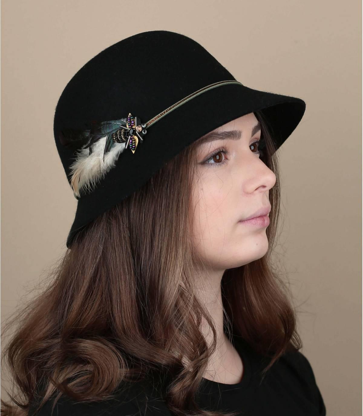gevederde cloche hoed