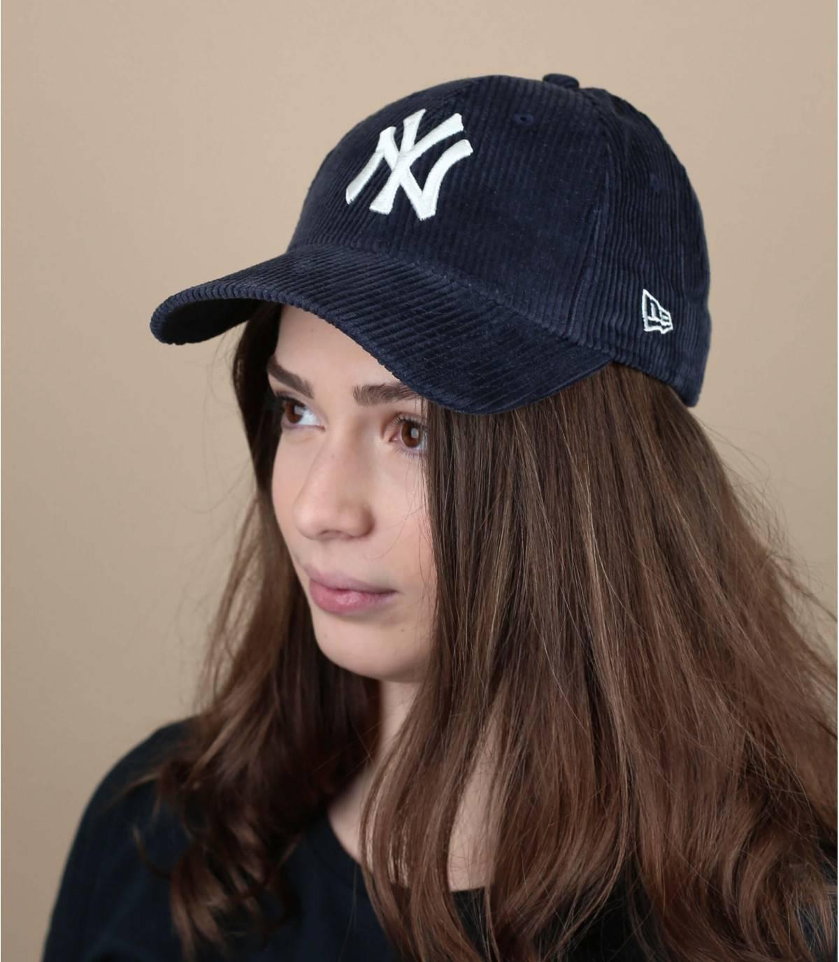 blauw fluwelen cap