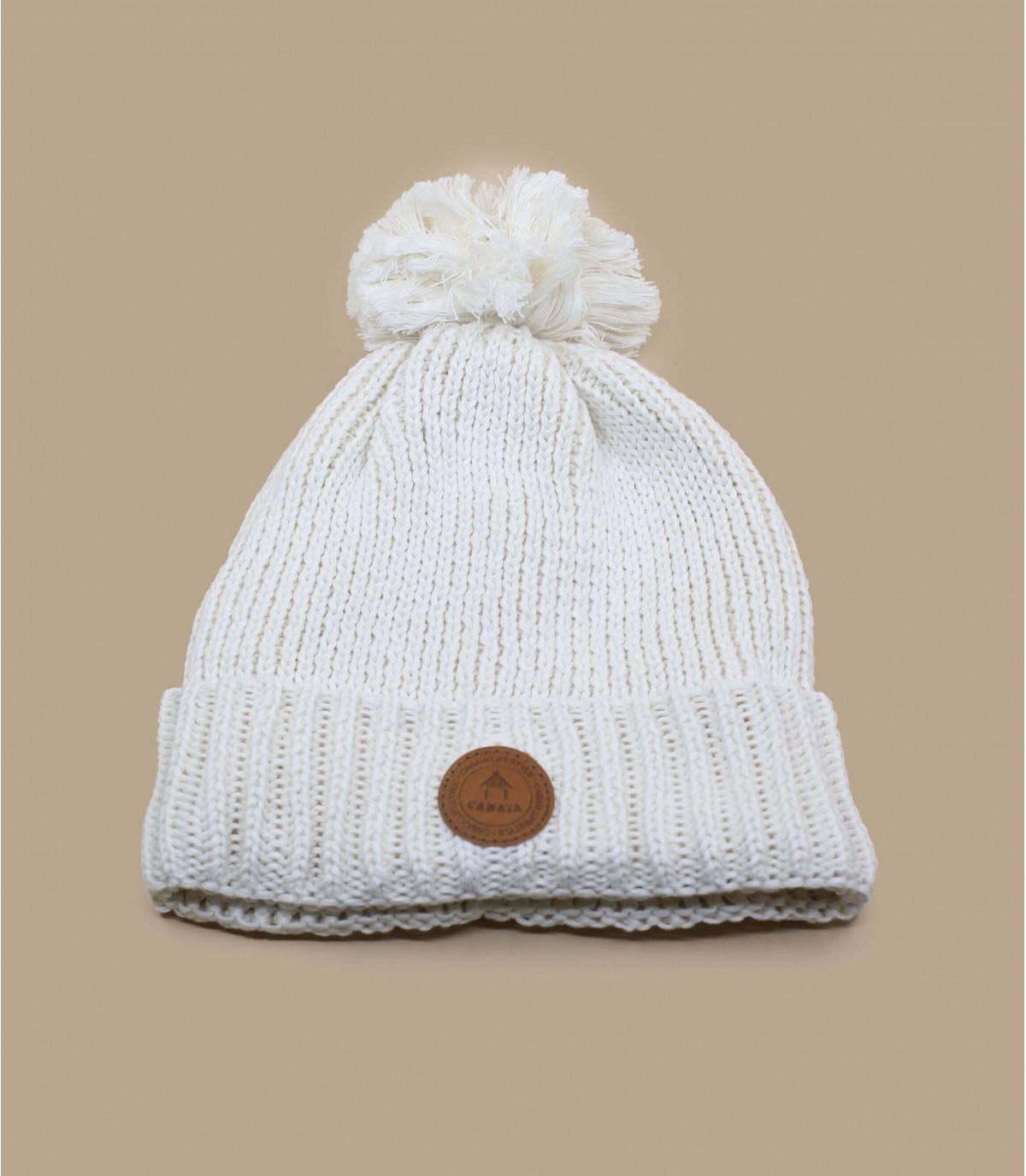 witte pompon hoed