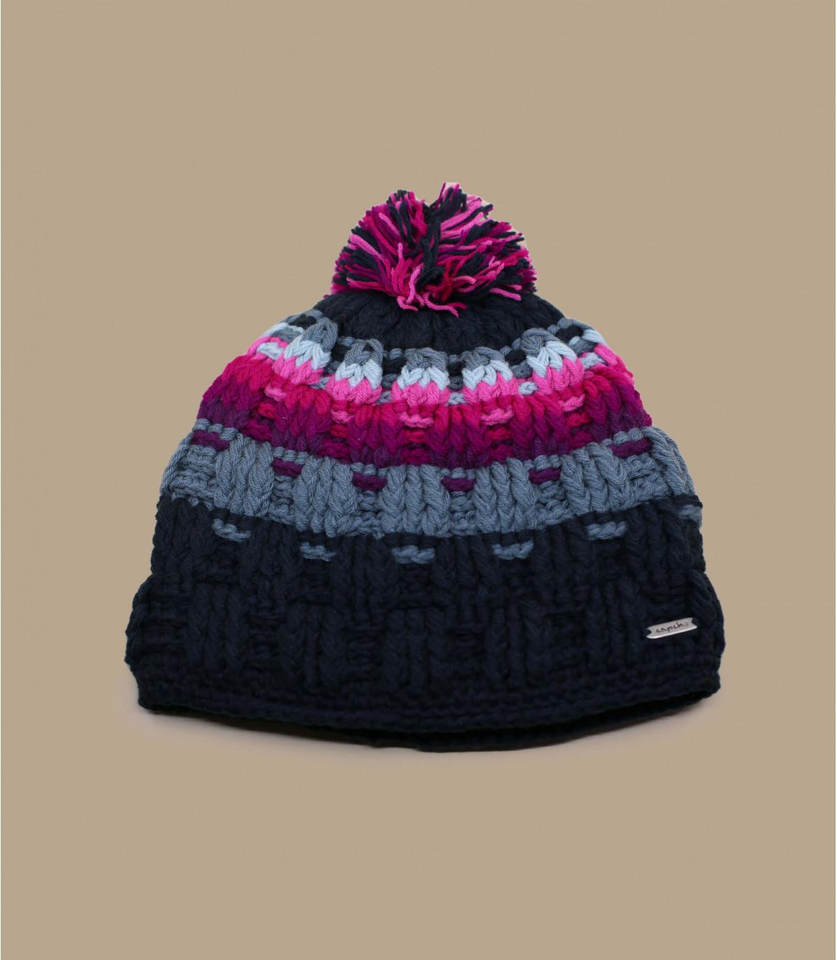 bobble hoed roze grijze strepen