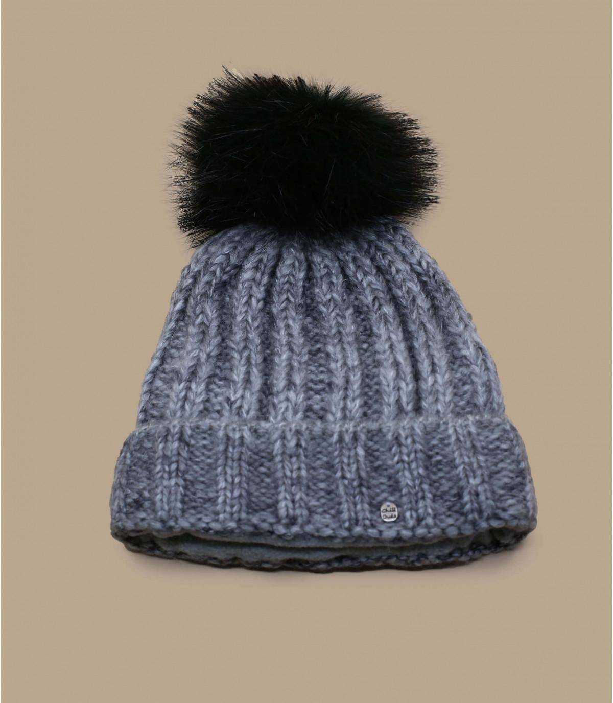 grijs zwart kwastje cap