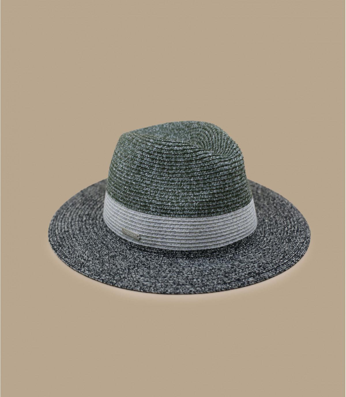 cappello di paglia nero con striscia grigia