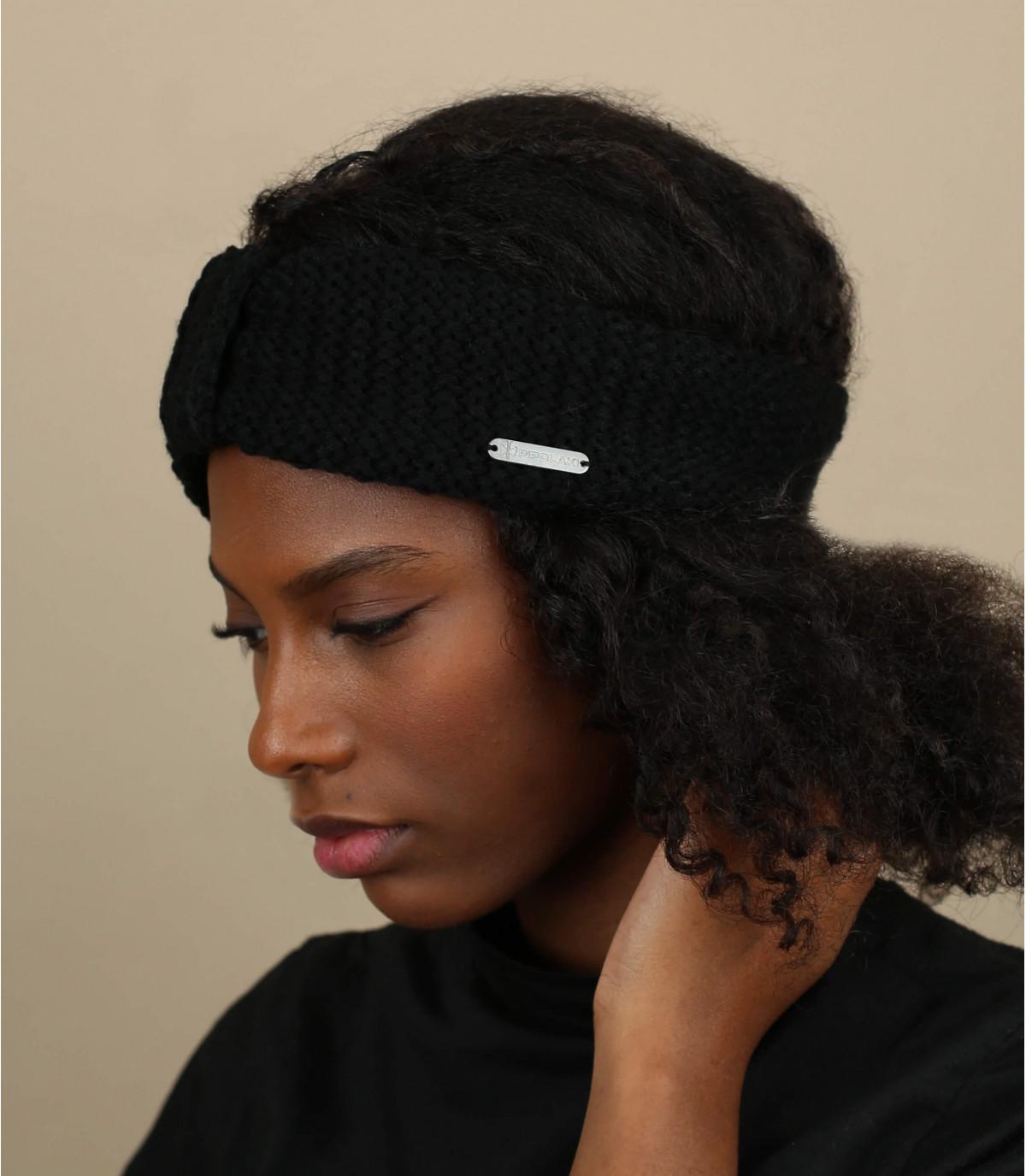 zwarte gebreide hoofdband