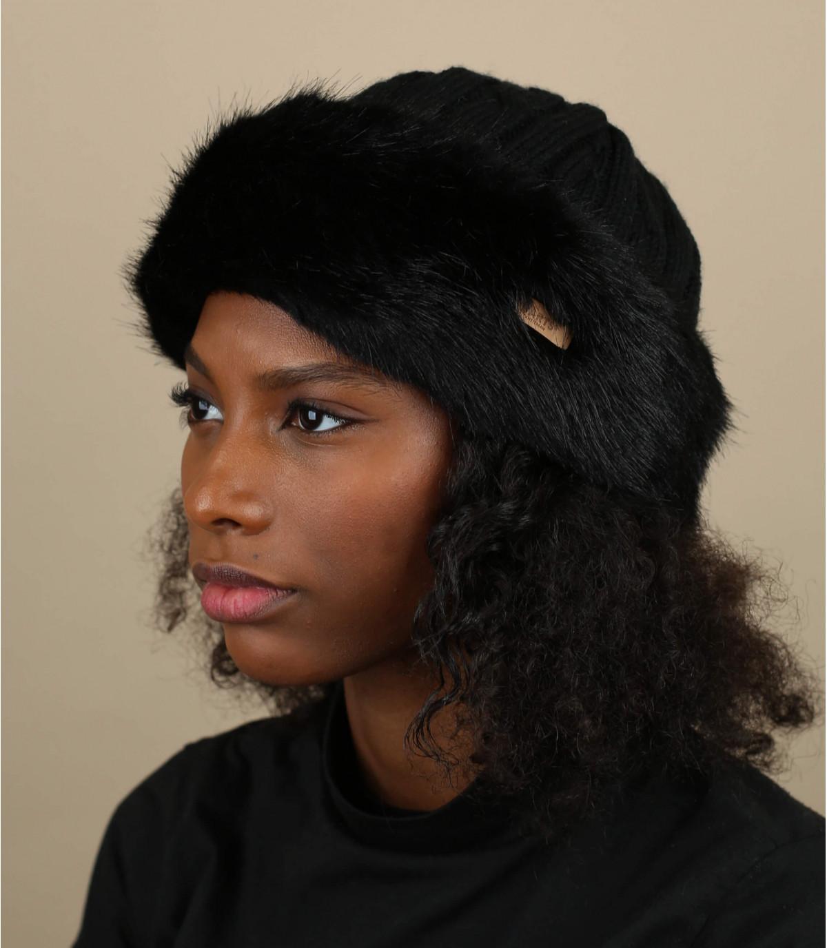 Zwarte hoofdband van bont