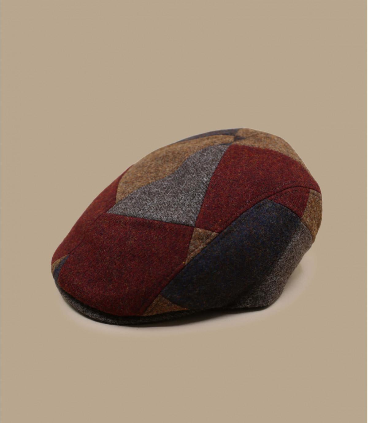 roodbruine patchwork baret