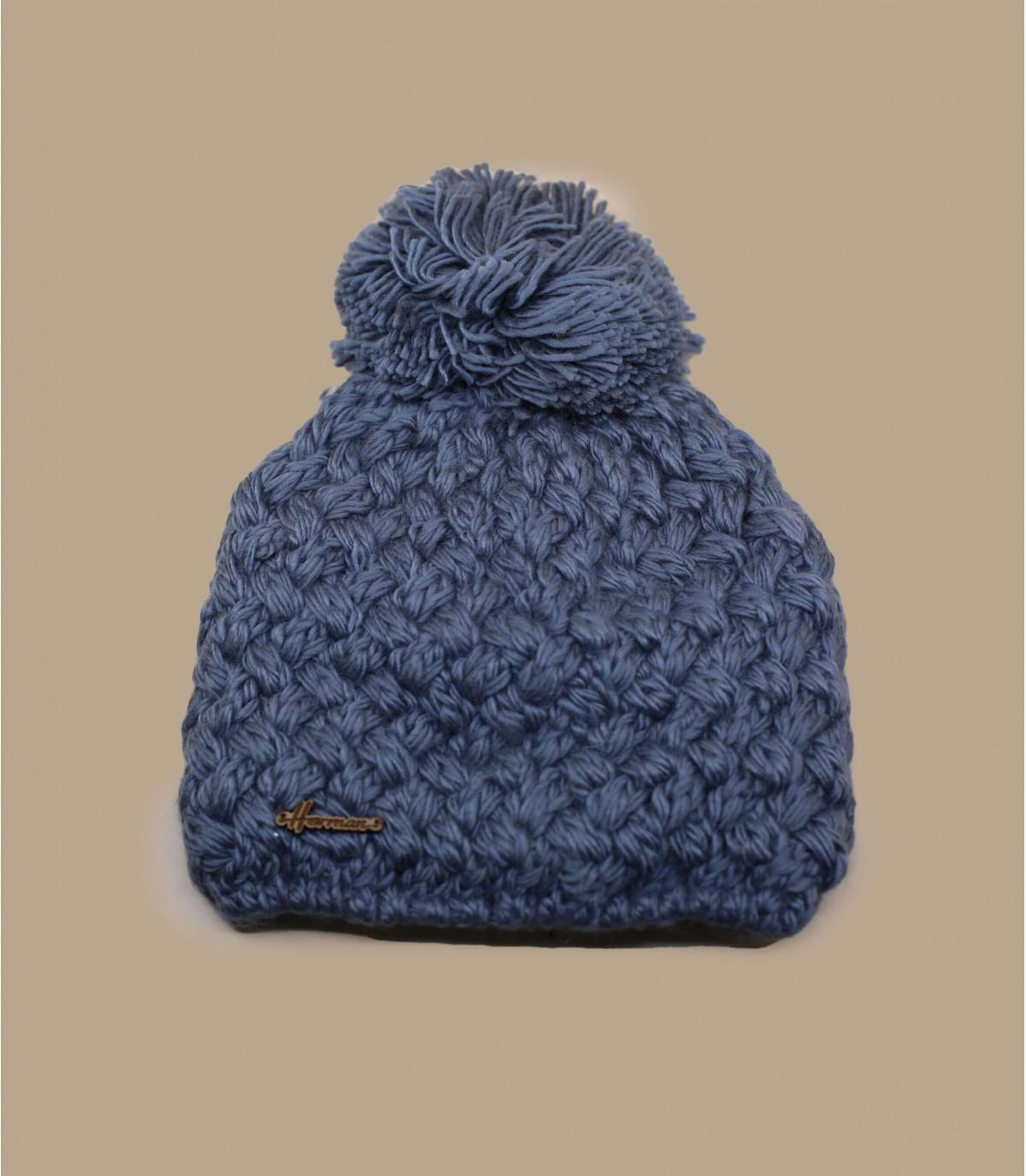 grijze wollen bobble hoed