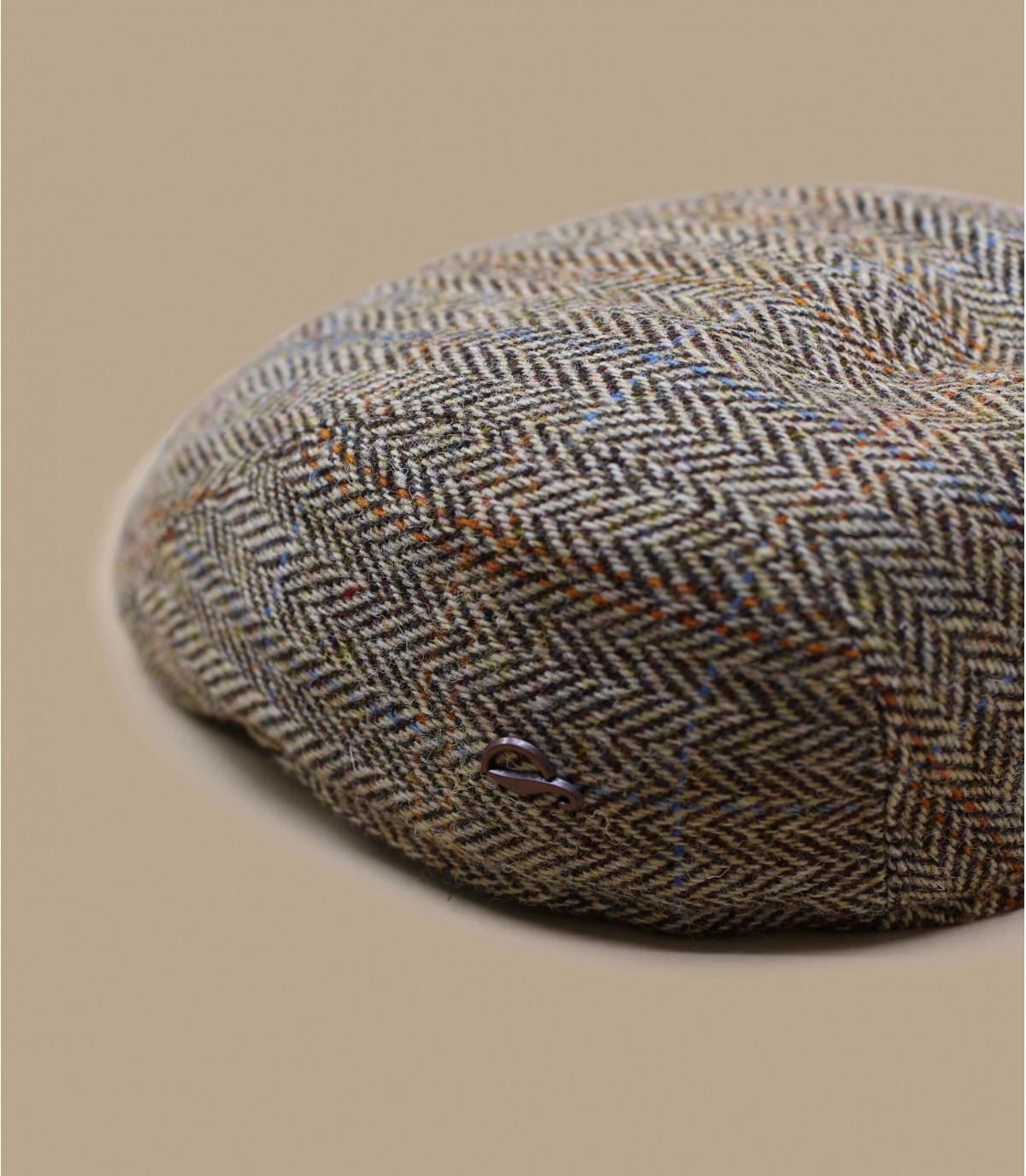 beige visgraat wol baret