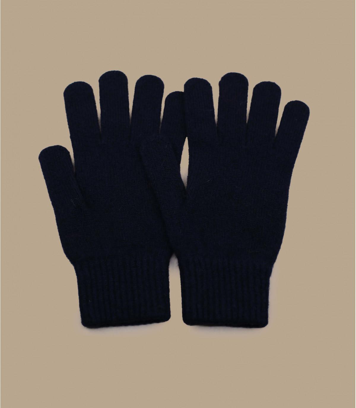 blauwe wollen handschoenen