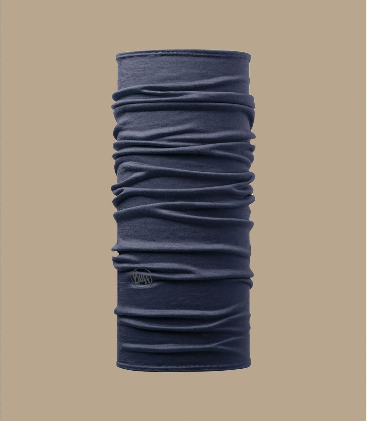round denim blauwe merino hals
