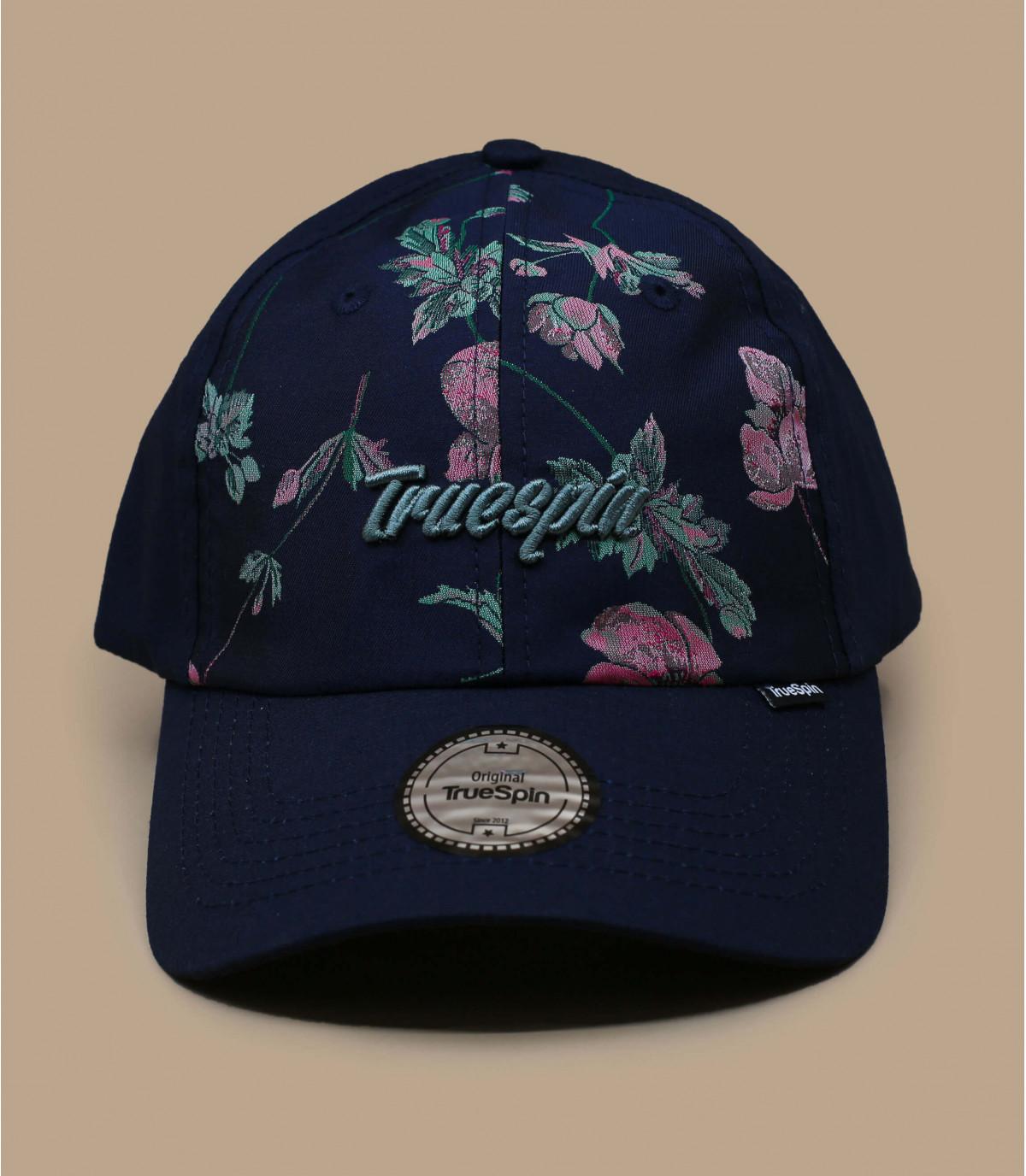 blauw bloemmotief cap