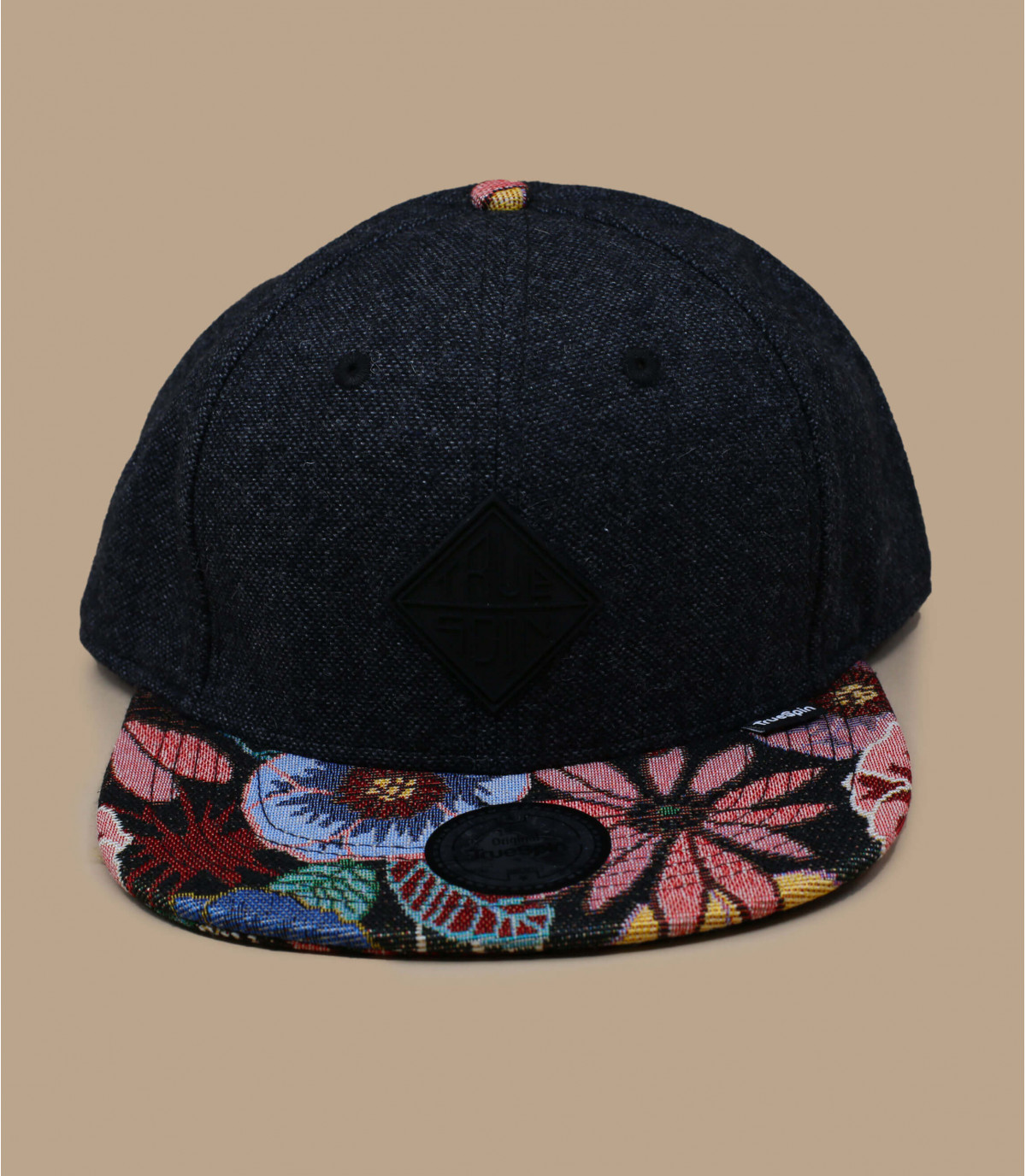 zwarte snapback bloemenklep