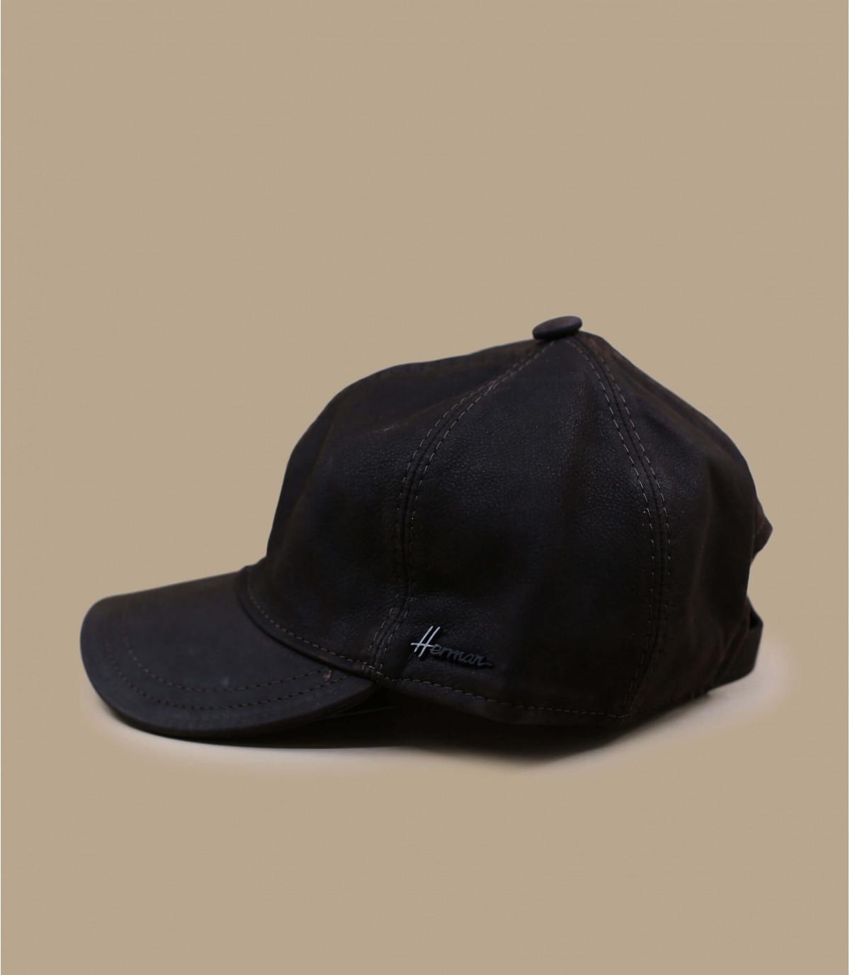 bruine lederen curve cap
