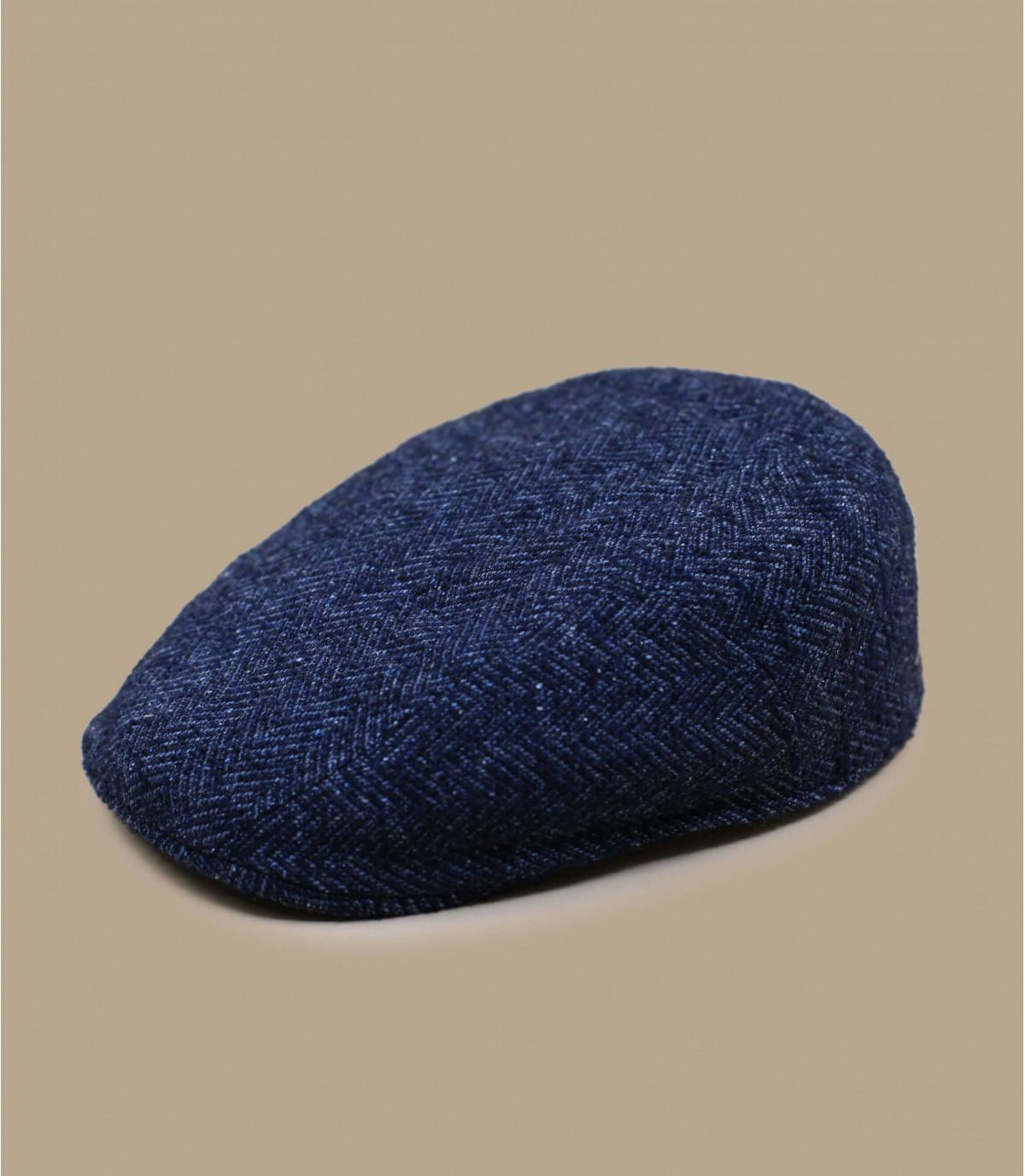 baret blauwe wol visgraat