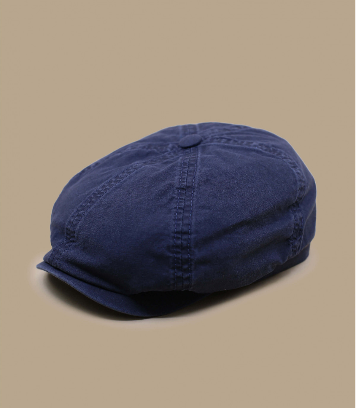 blauwe organische katoenen krantenverkoper baret