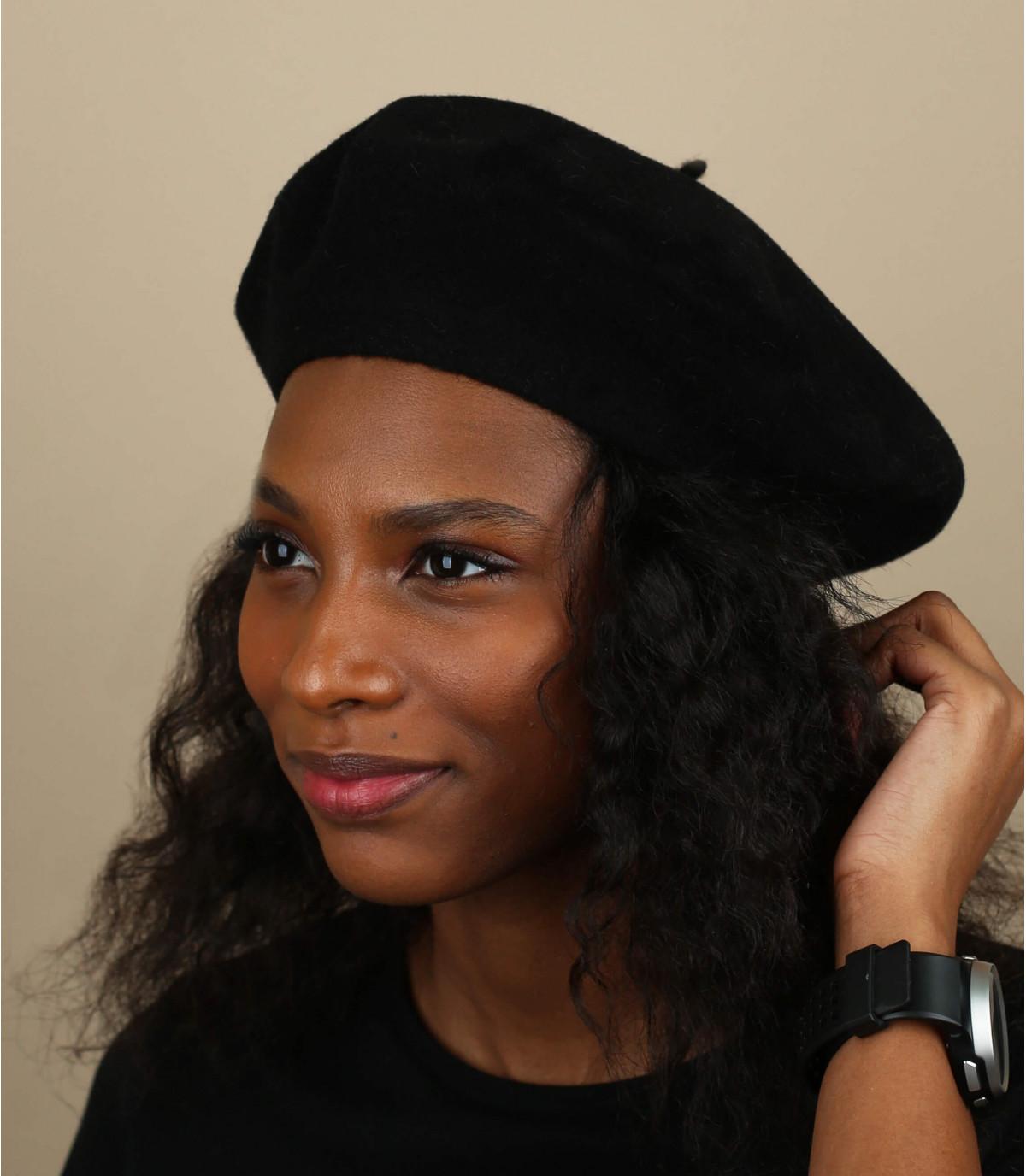 Zwart dames Franse baret