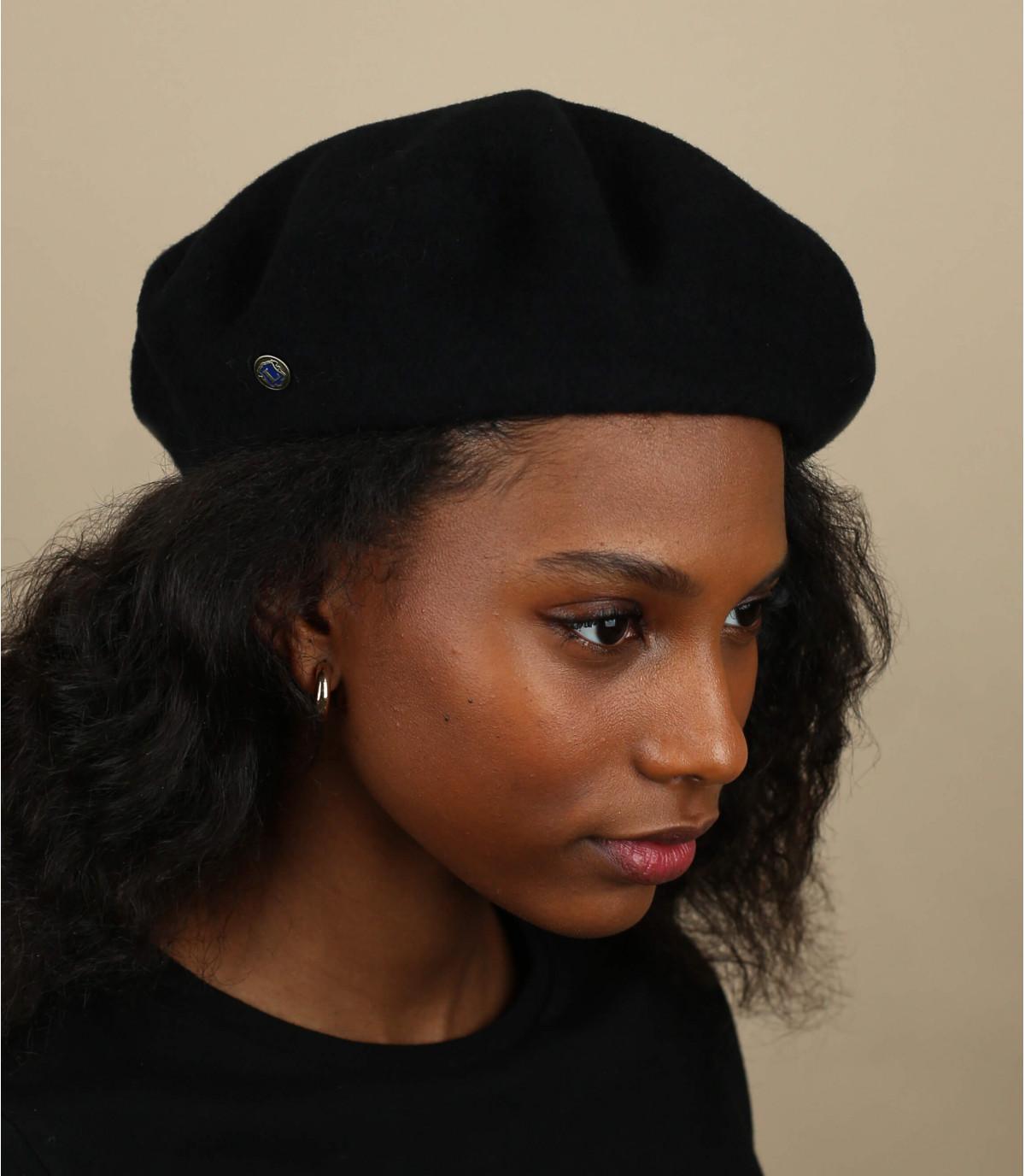 zwarte kasjmier baret