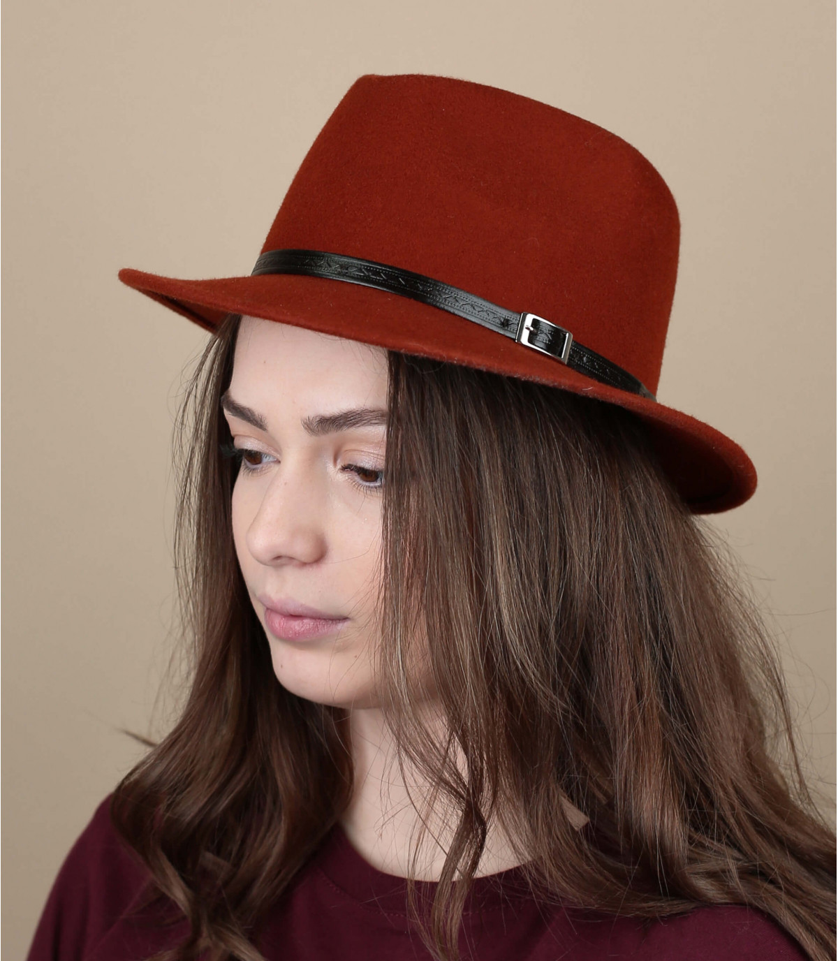 oranje bakstenen vilten hoed