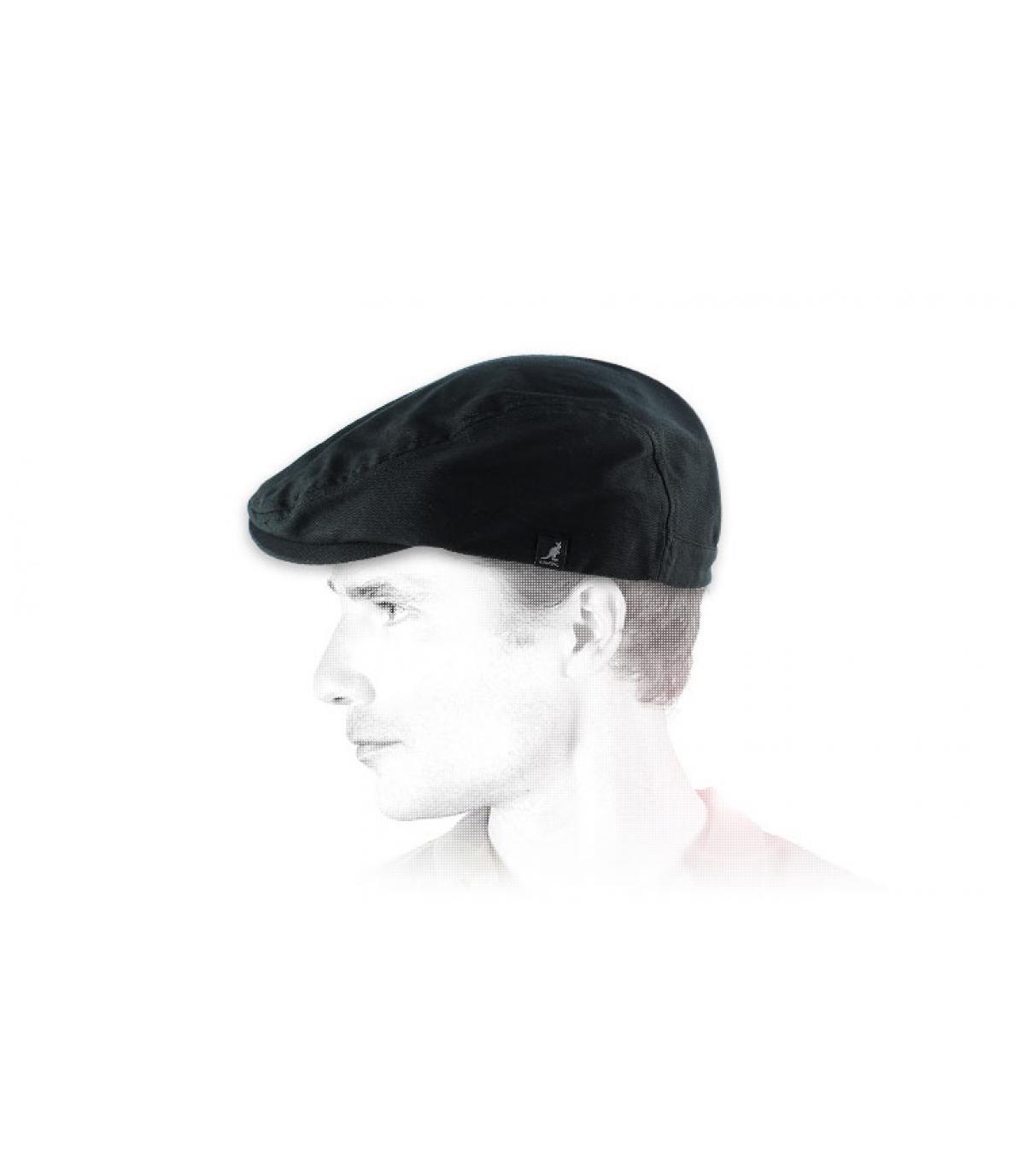 Zwart platte cap Kangol