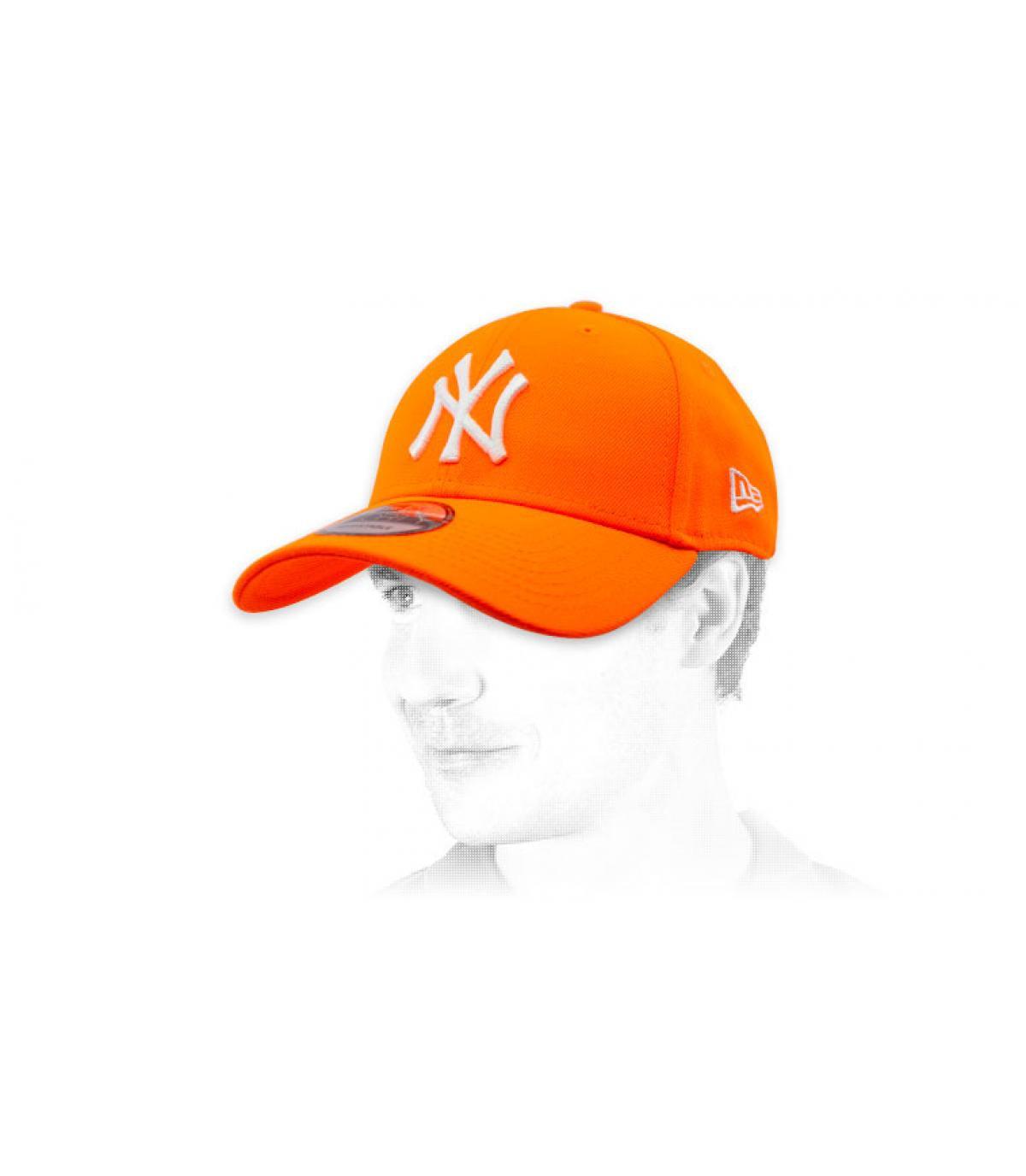 NY orange trucker cap