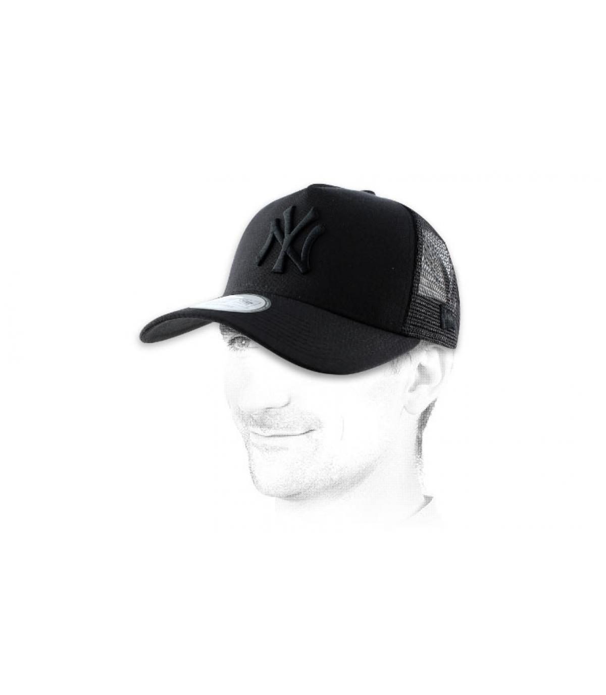 NY zwarte net cap