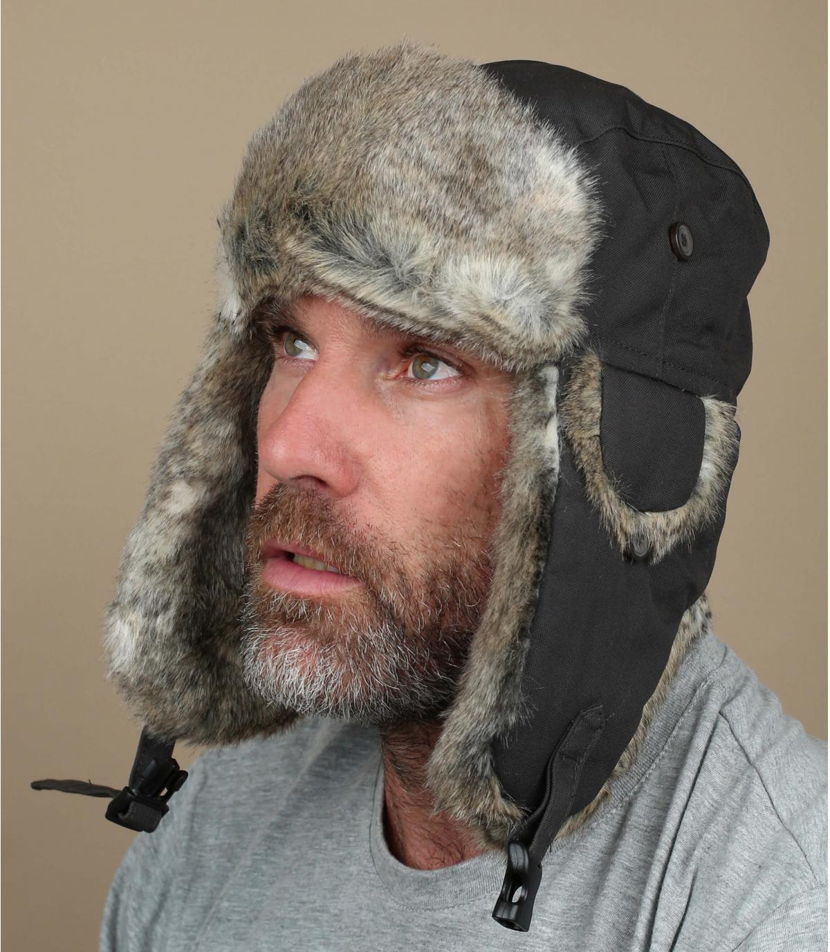 Donkergrijs trapper hoed