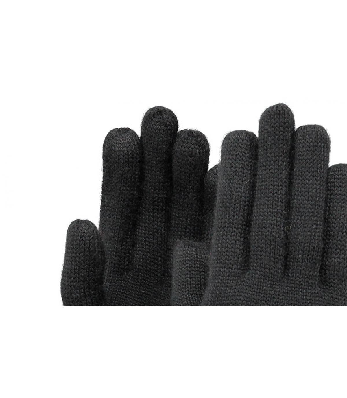 Details Fijn gebreide handschoenen zwart - afbeeling 2