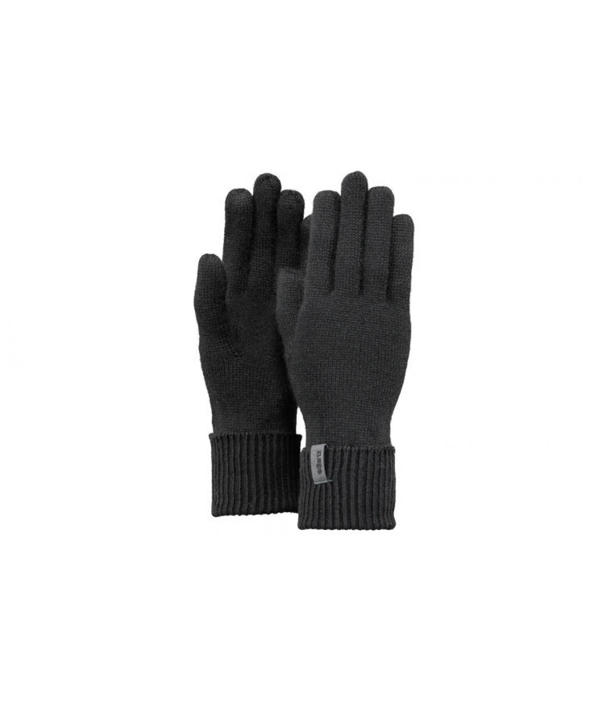 Details Fijn gebreide handschoenen zwart - afbeeling 3