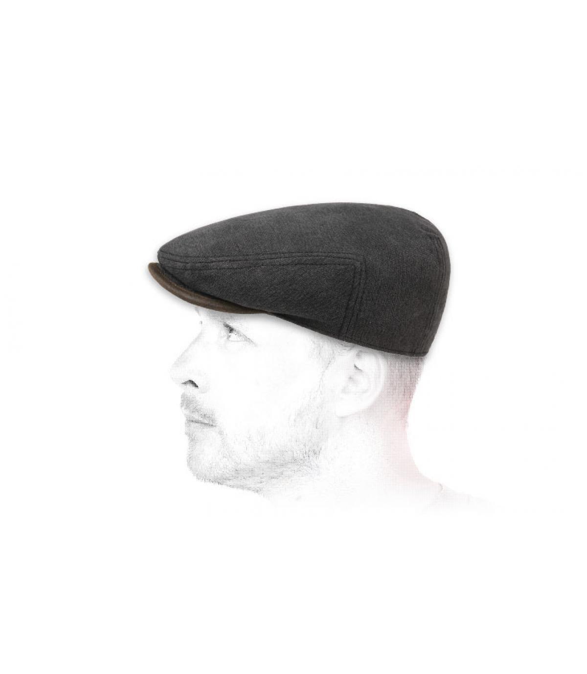 platte zwarte katoenen cap