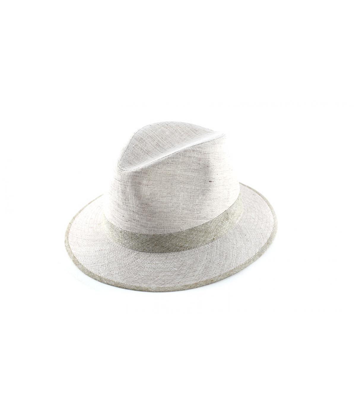 witte hoed stof beige strepen