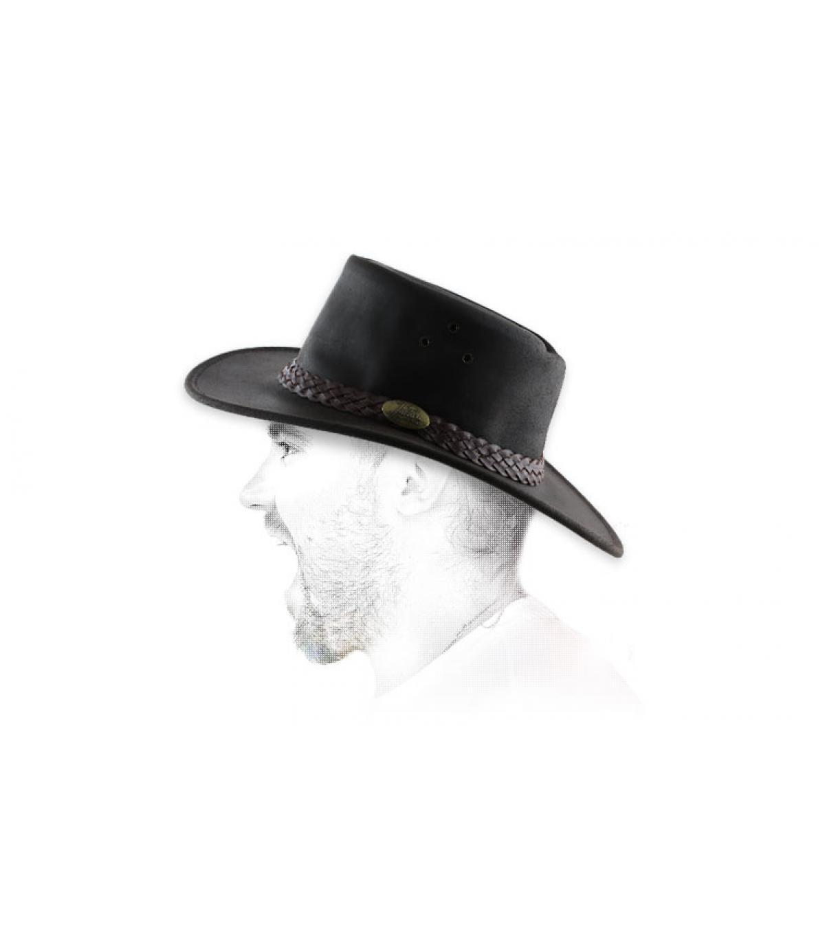 bruin geoliede leren hoed