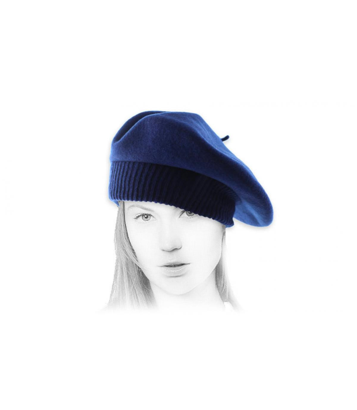 baret blauw geribbelde