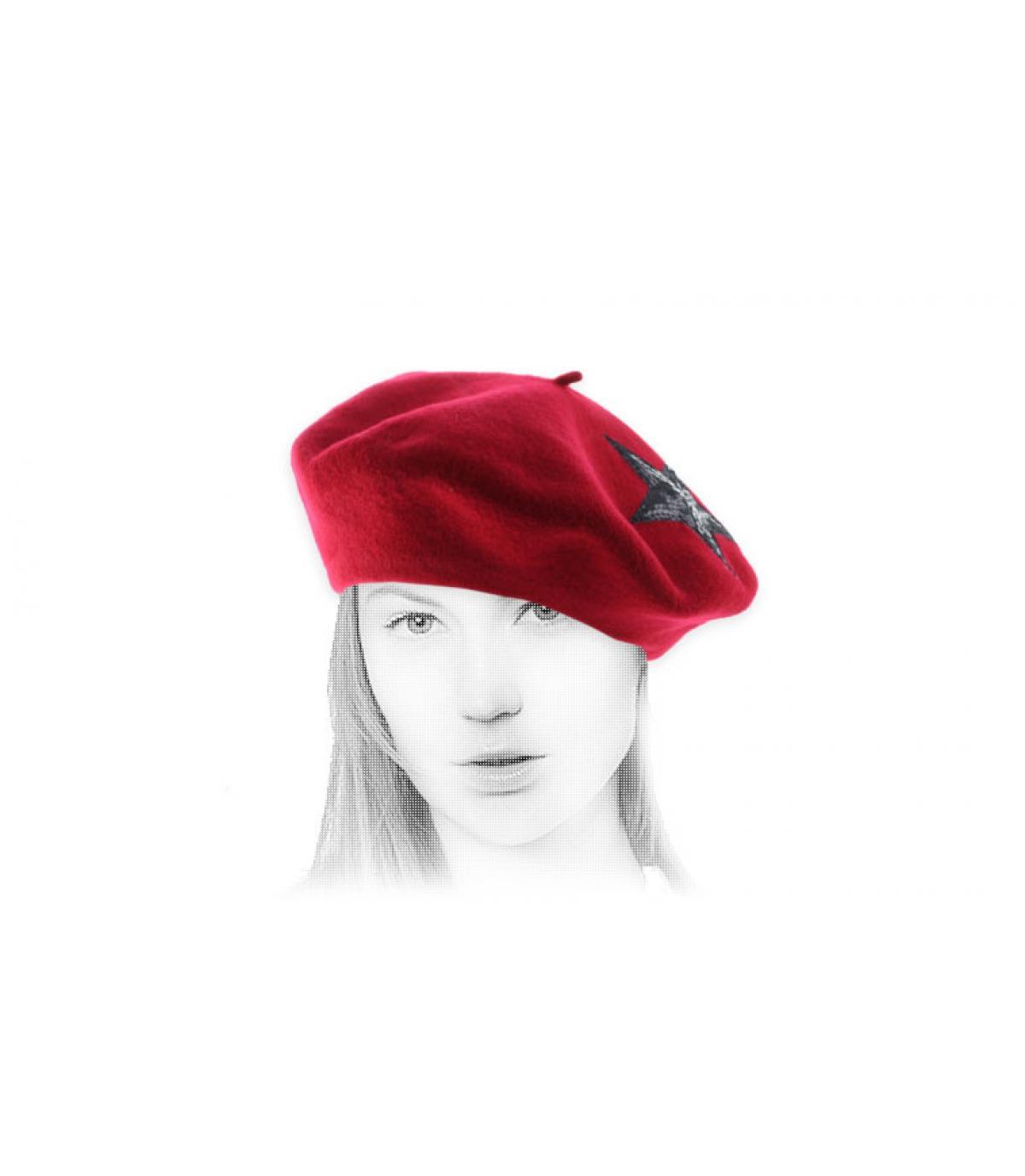 rode pailletten baret ster